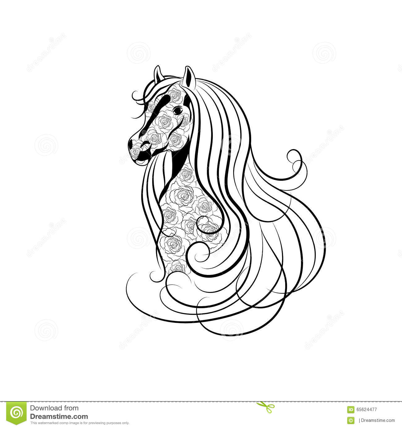 Vector Illustration Of Horse Head Decorated With Floral Pattern In Black And White Style Stock Vector Illustration Of Mammal Line 65624477