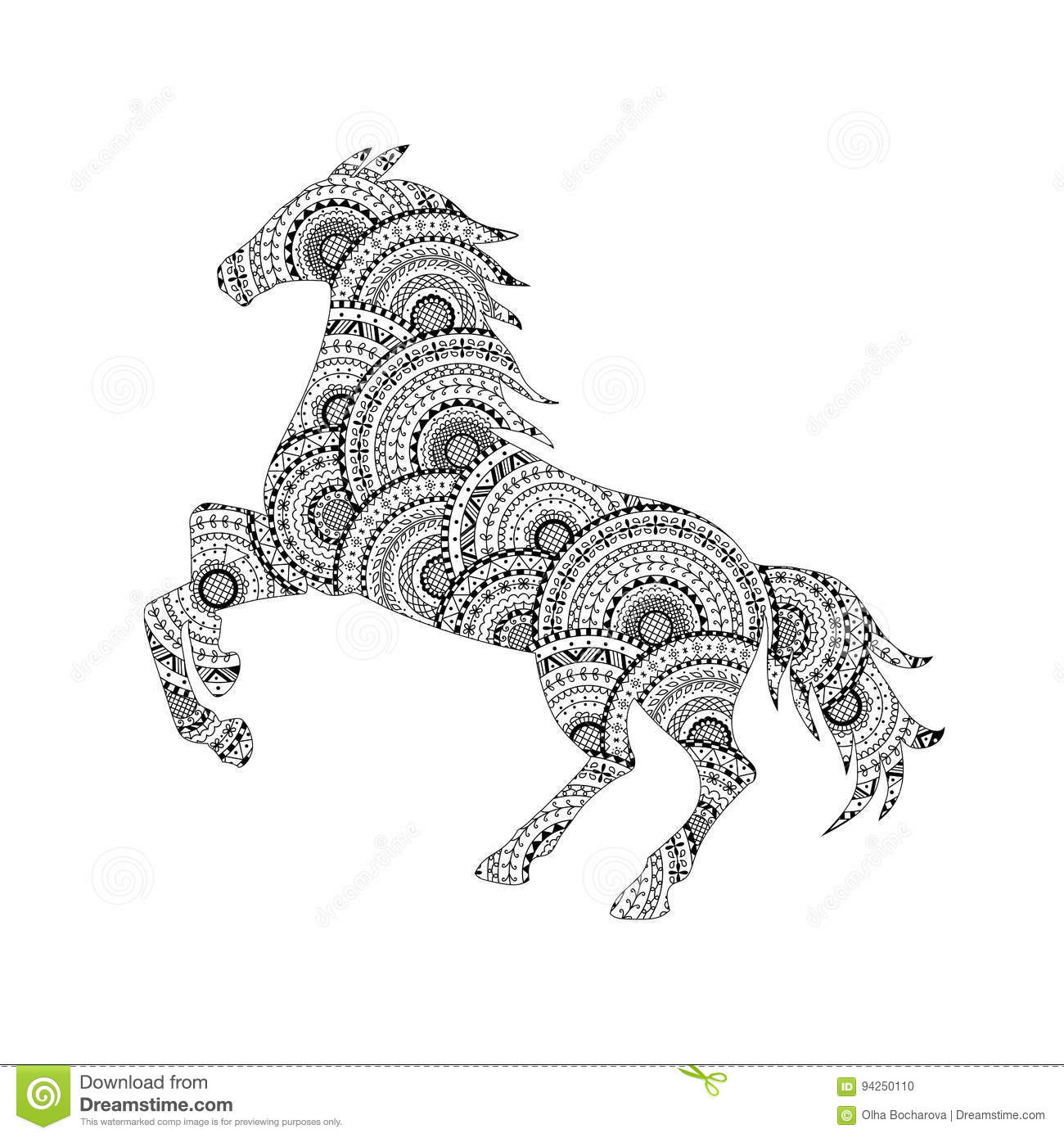 Download Vector Illustration Of Horse Silhouette From Black And White Man Stock