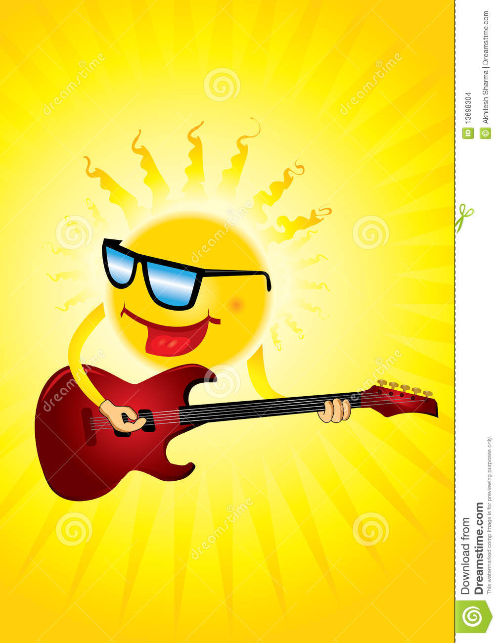 Hot sun with a guitar playing cool music.