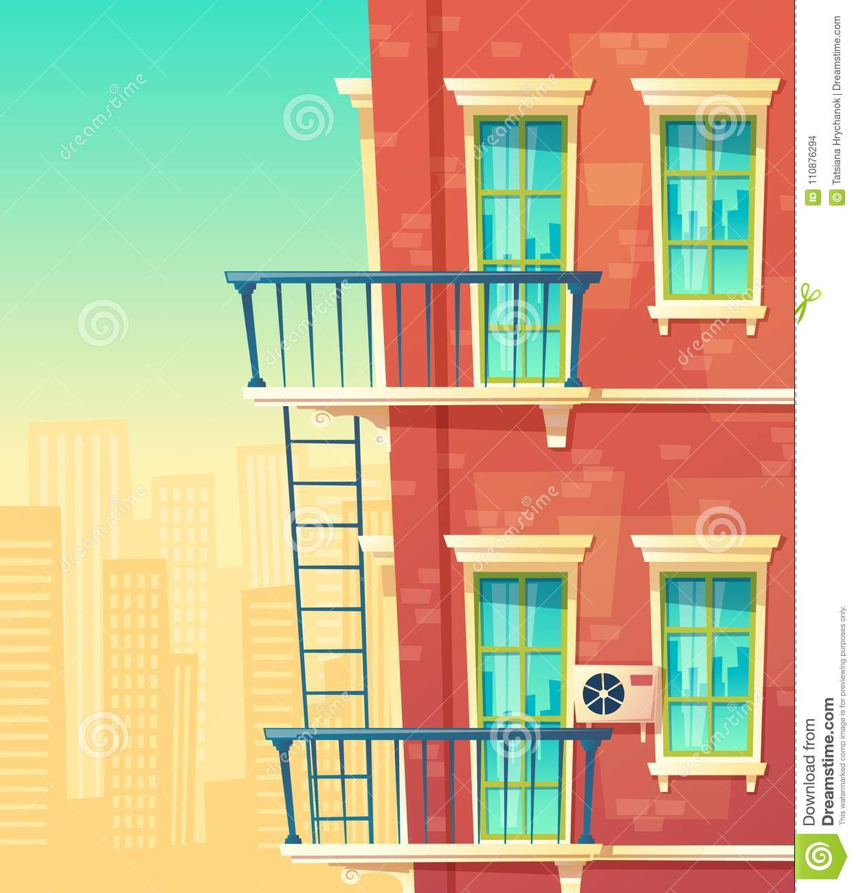 Vector illustration of house facade element