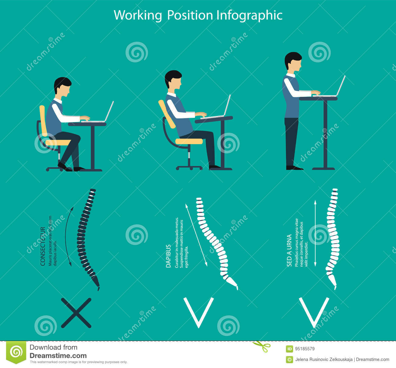 Vector Illustration How To Work If You Have Back Pain Stock Vector