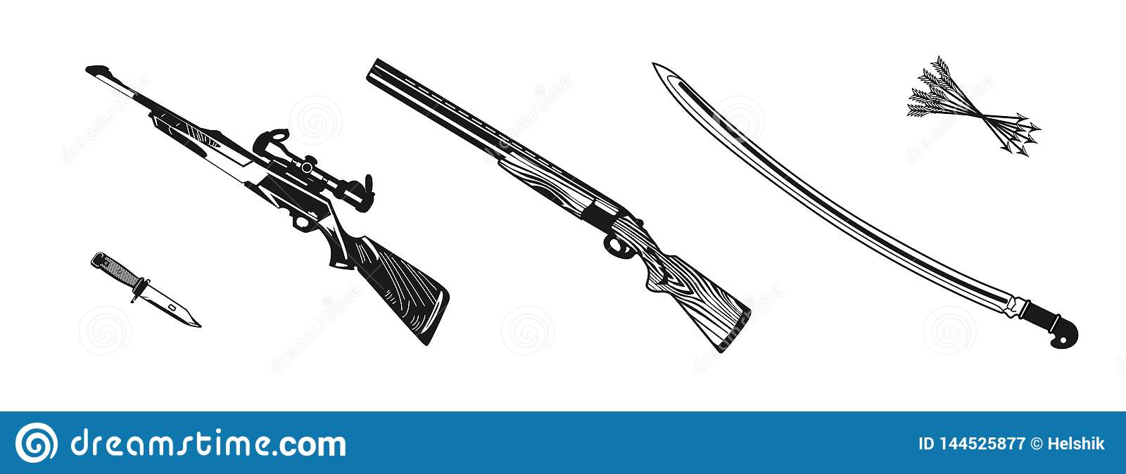 Vector illustration huntings rifle colored, black and white, silhouette
