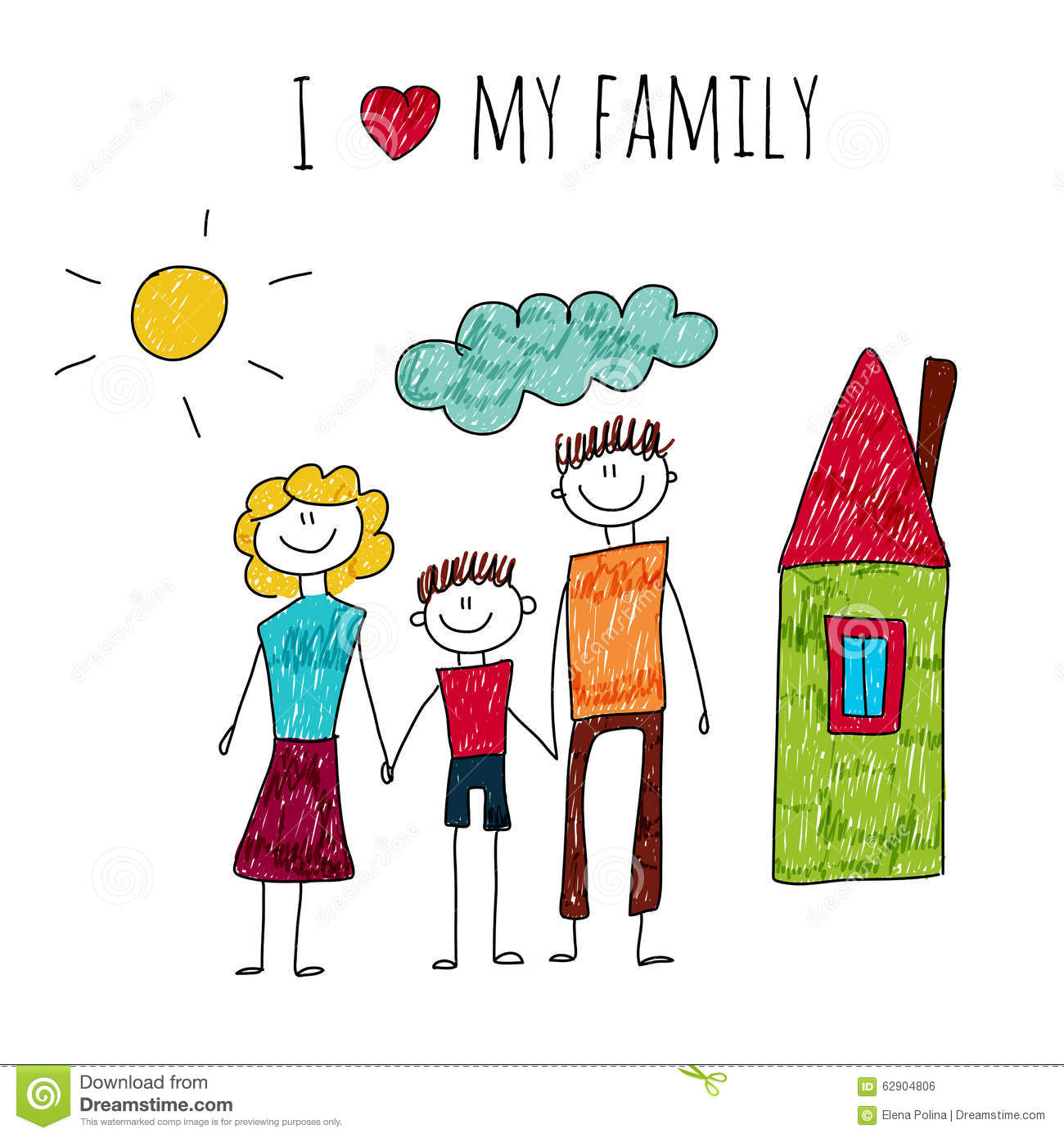 Stock Illustration Vector Illustration I Love My Family Kids Drawing Image62904806 on Kindergarten Time Worksheets For All Download And