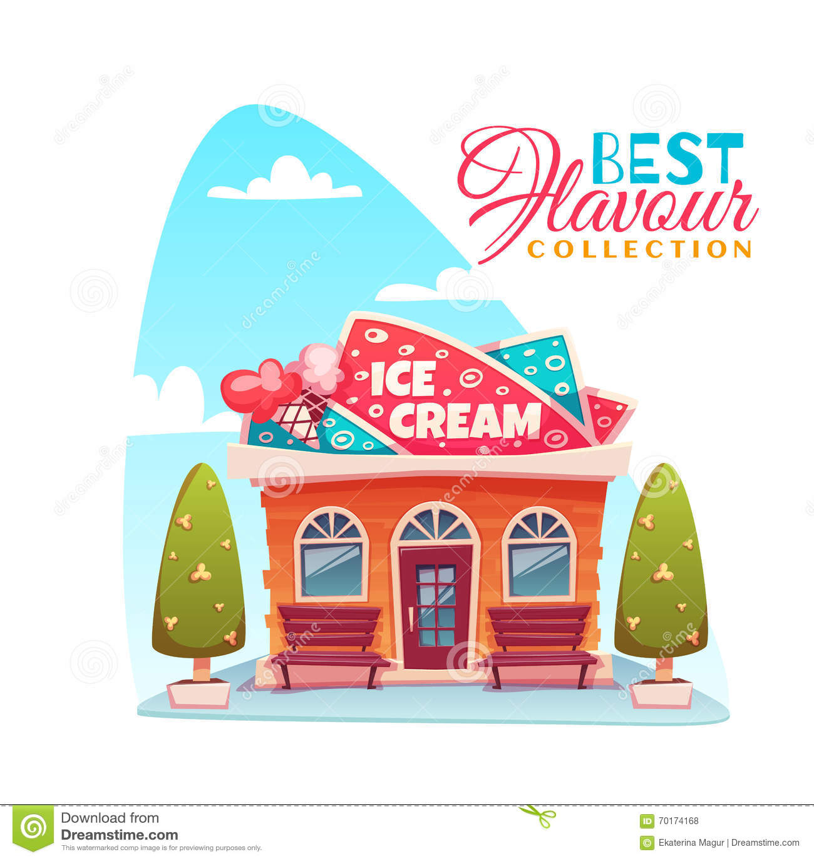 Vector Illustration Of Ice Cream Shop Building Cartoon