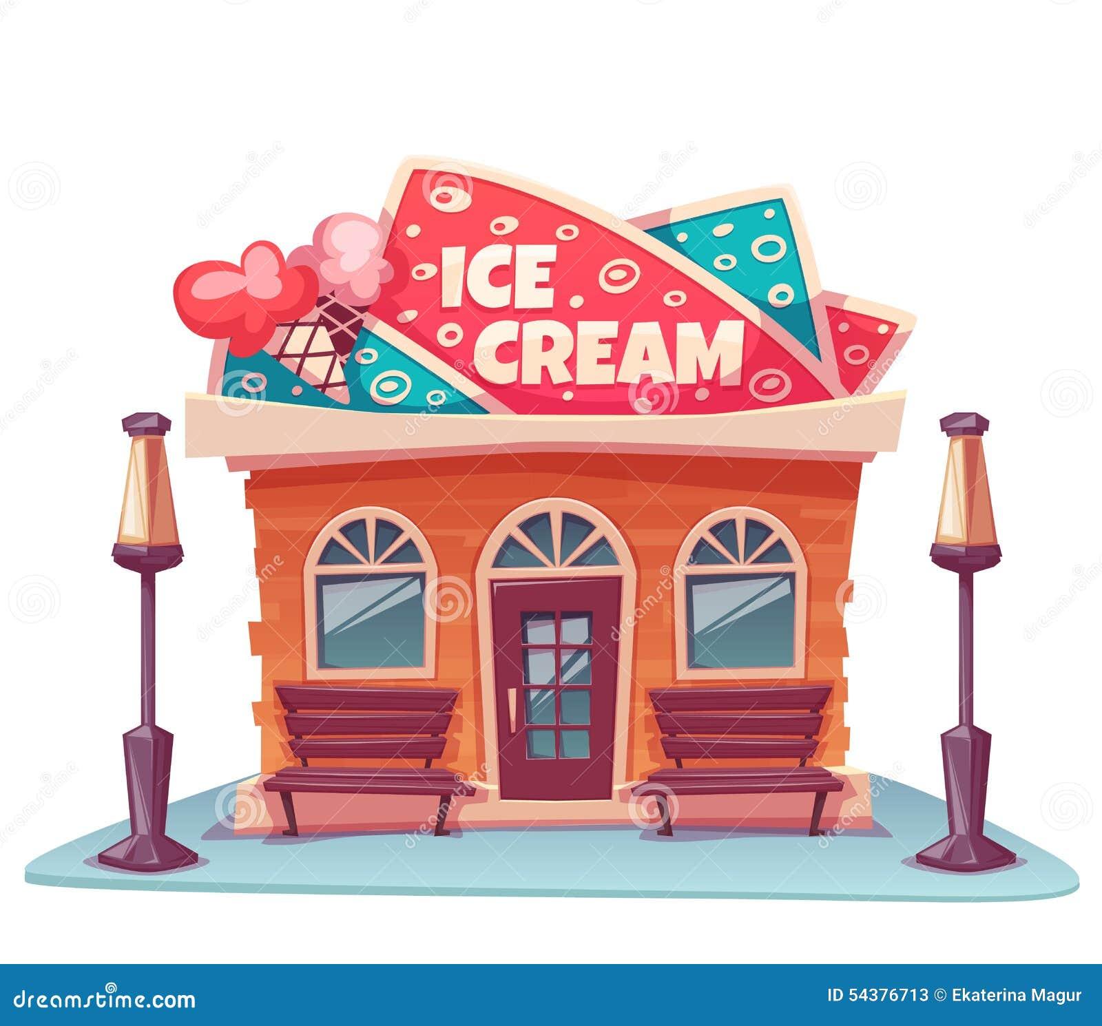House Plan Maker Vector Illustration Of Ice Cream Shop Building Stock