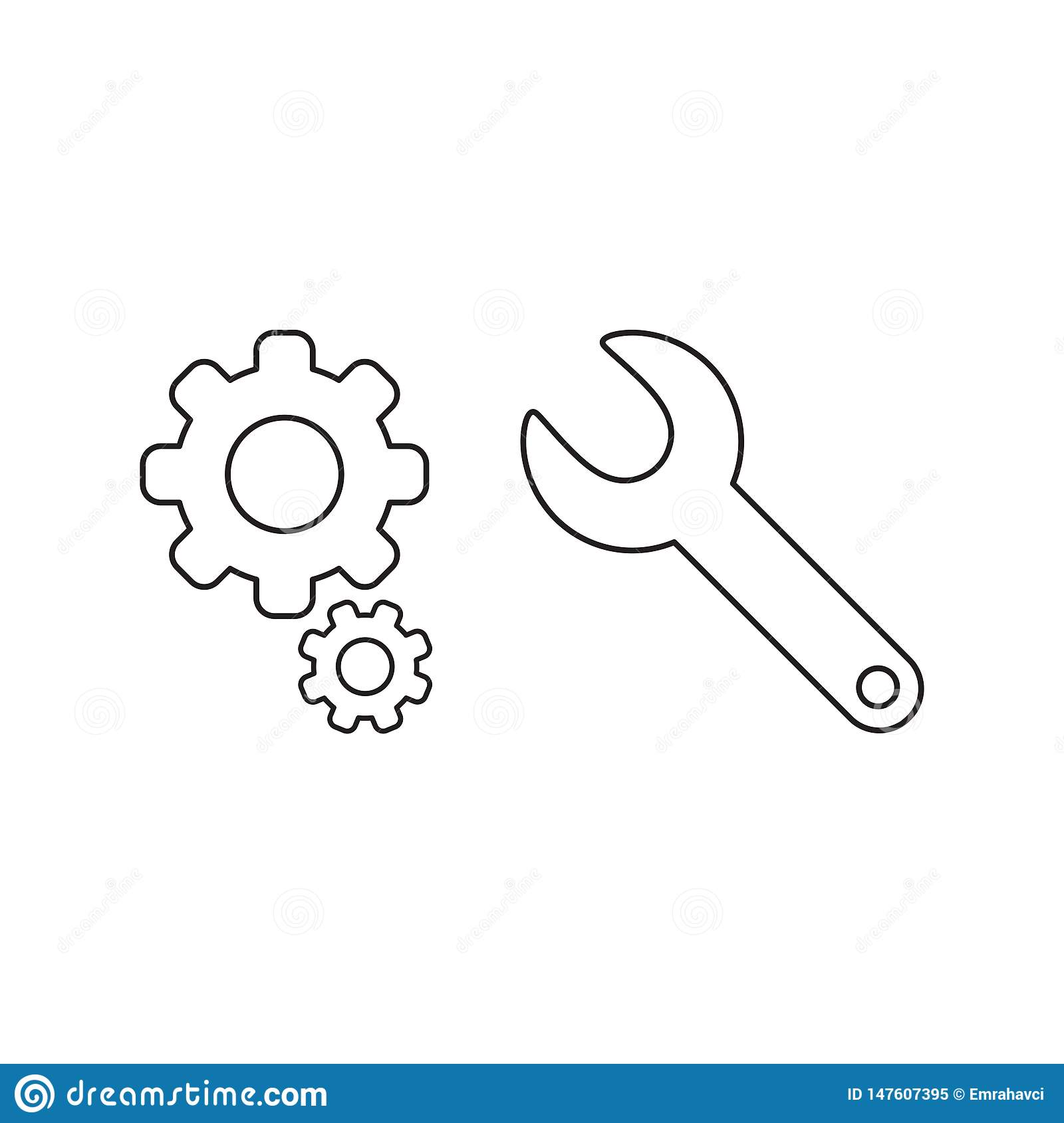 Vector illustration icon concept of gears with spanner