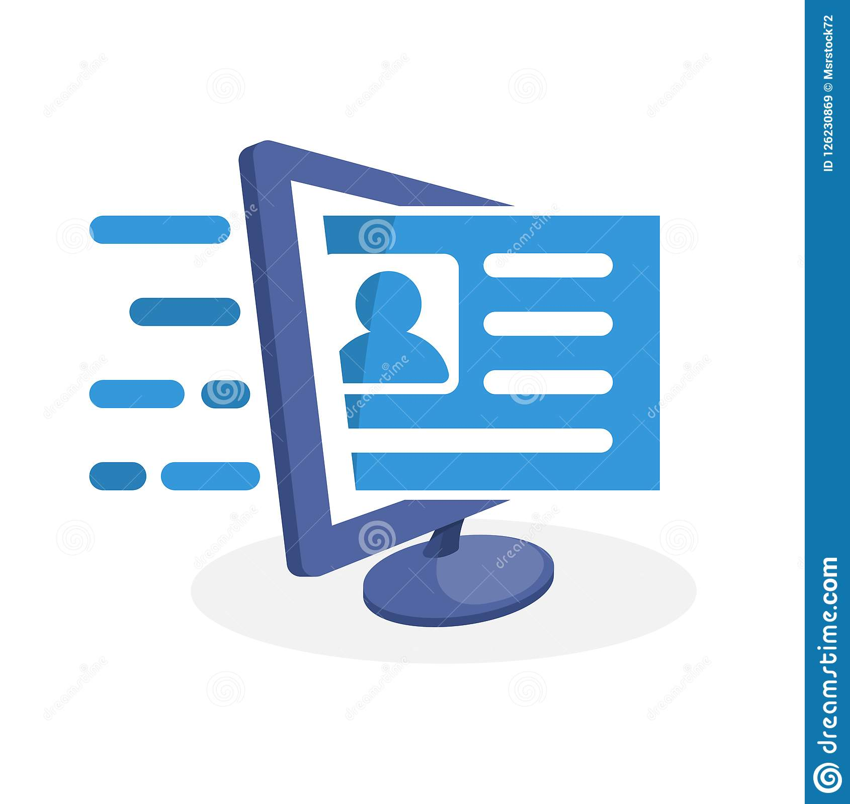 Vector illustration icon with digital media concept about online registration