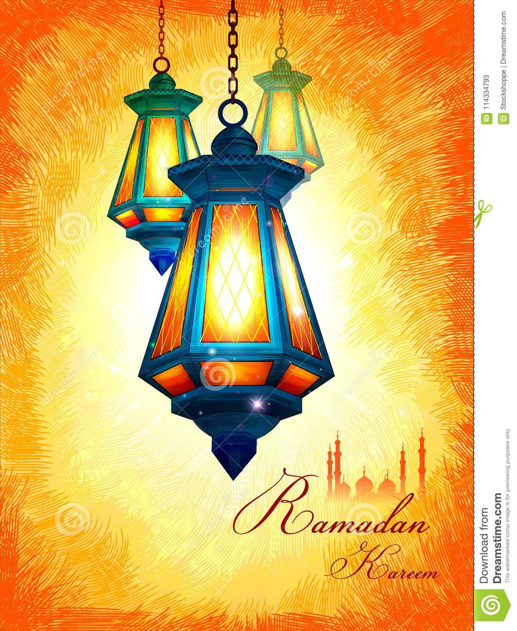 Illuminated lamp for ramadan kareem greetings for ramadan background download illuminated lamp for ramadan kareem greetings for ramadan background with islamic mosque stock vector m4hsunfo