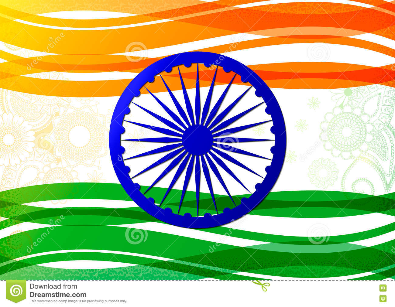 Indian Flag Theme: Vector Illustration Of Indian Flag Theme Background For