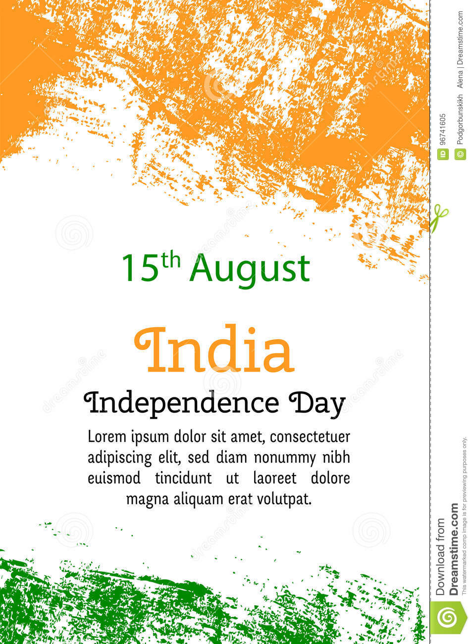 Vector Illustration Indian Independence Day India Flag In