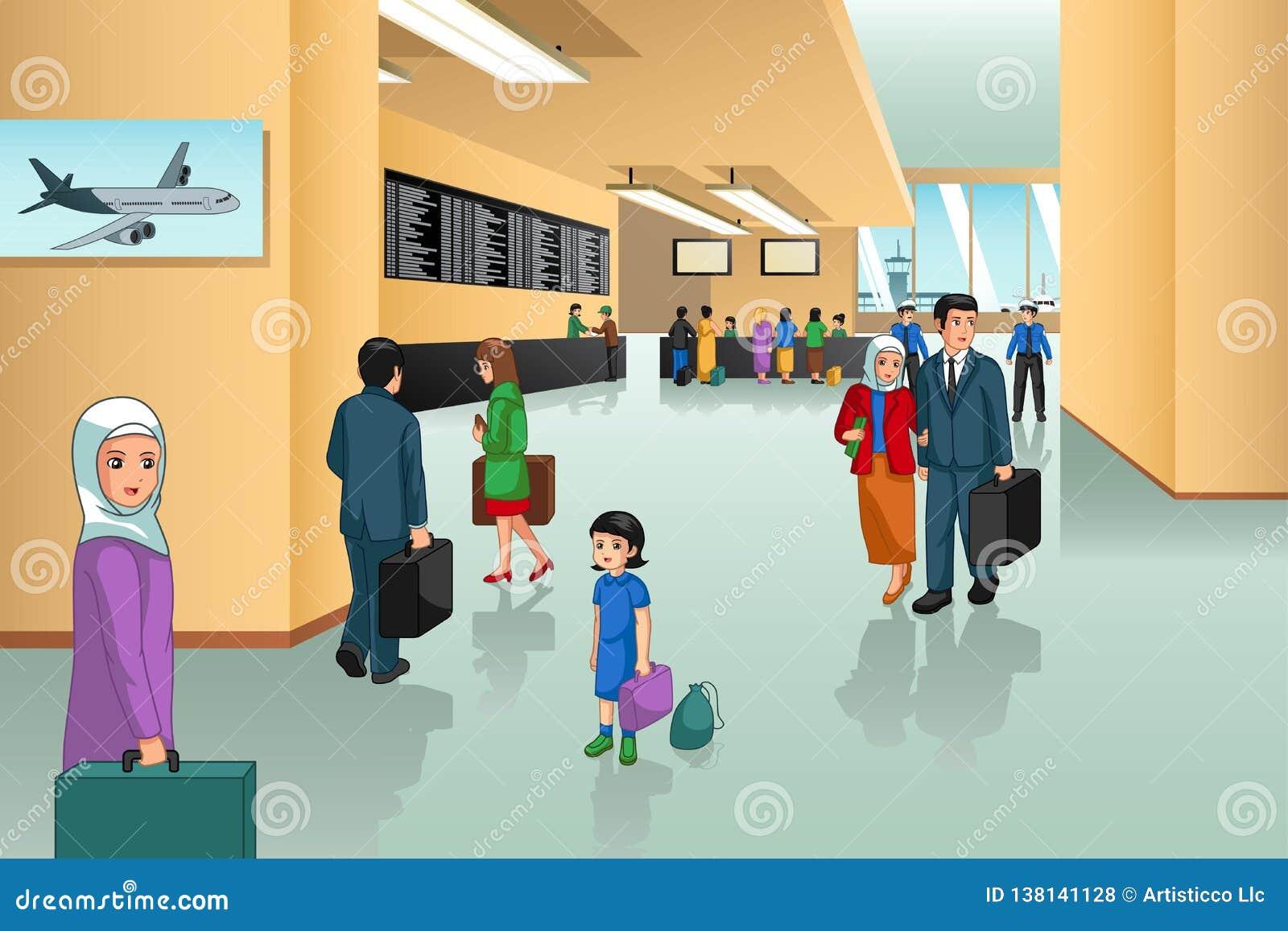 Inside Airport Scene Illustration Stock Vector