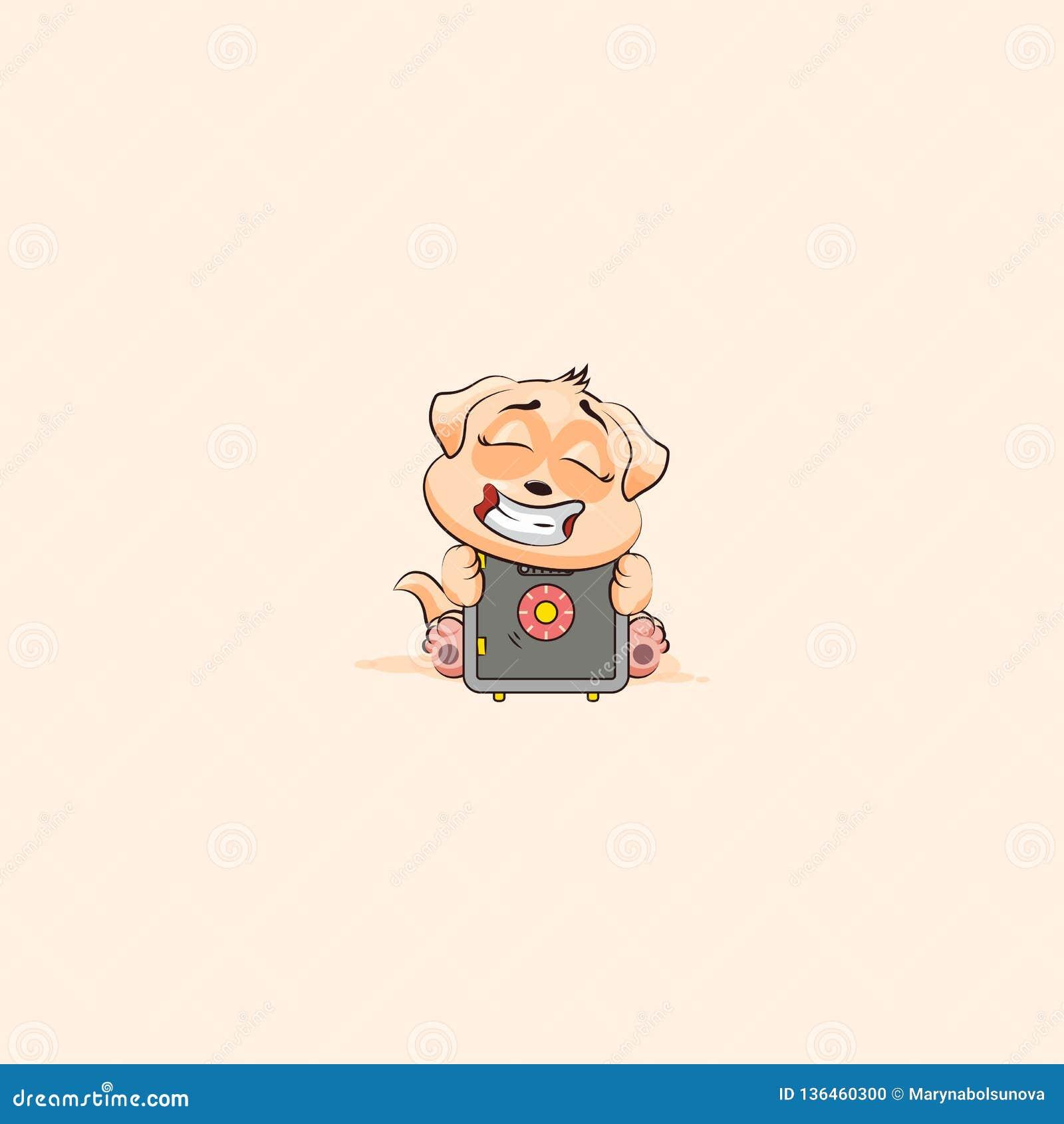 Dog Cub Sticker Emoticon Hug Safe With Money Stock Vector