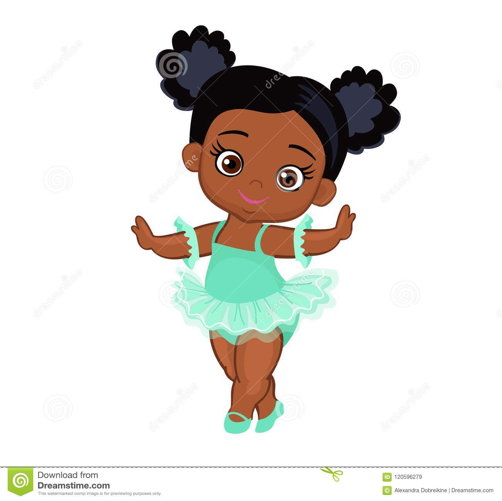 Vector Cute Little Baby African American Ballerina In Tutu ...