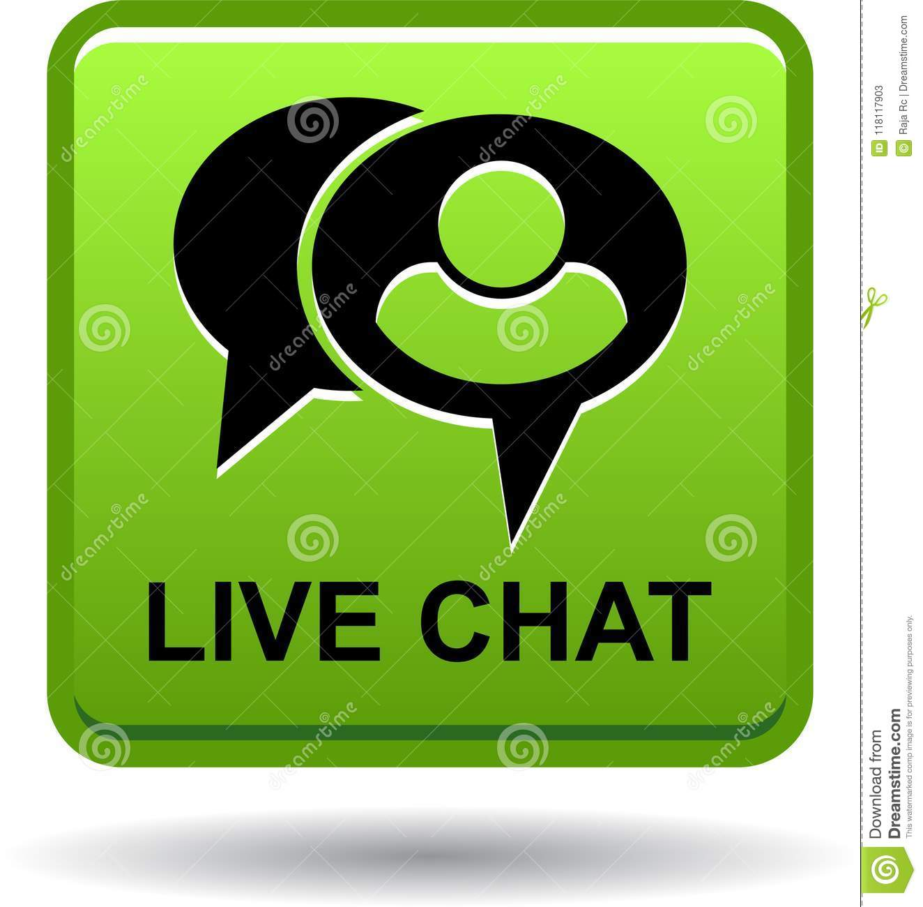 Live Chat Icon Web Button Green Stock Vector - Illustration