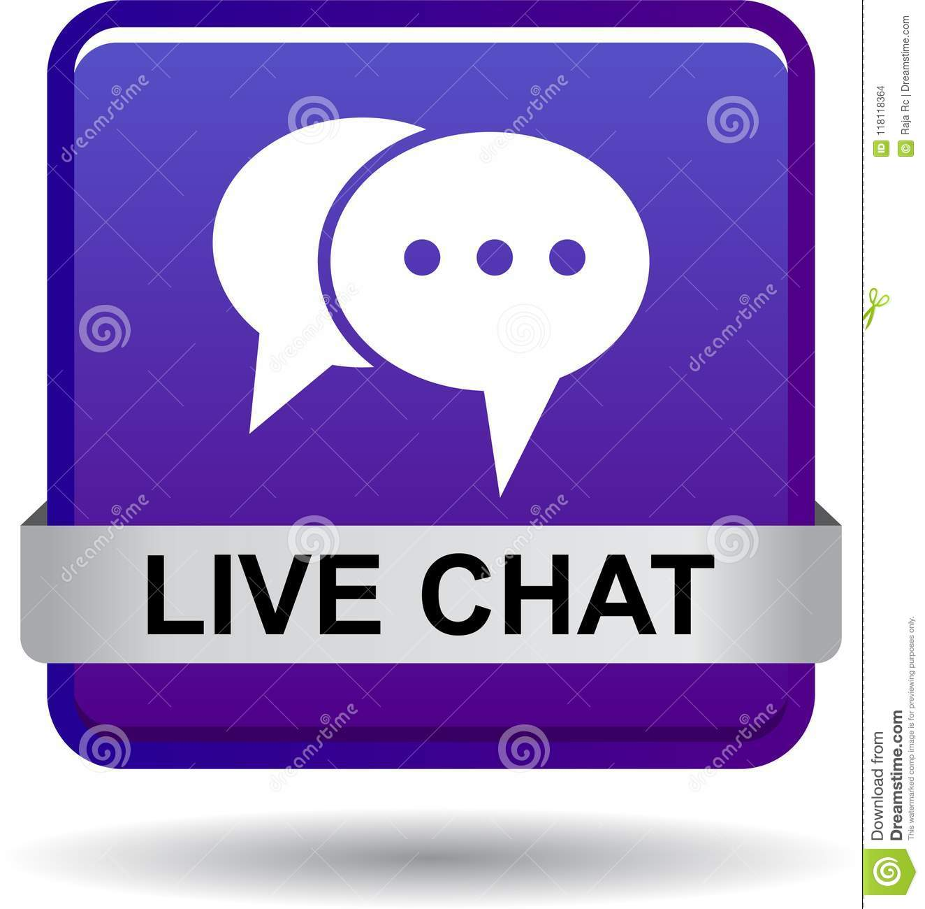 Live Chat Icon Web Button Violet Stock Vector - Illustration