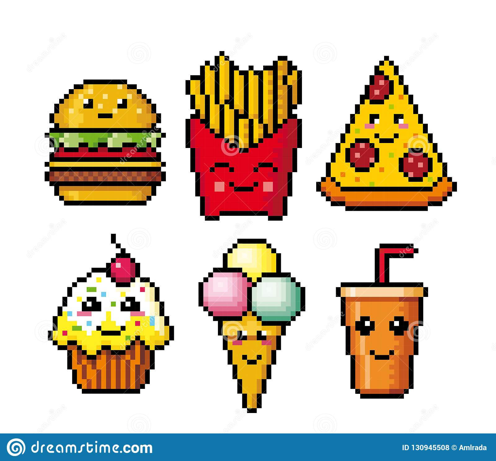 Fast Food Pixel Art Cartoon Icons Cute Design Stock Vector