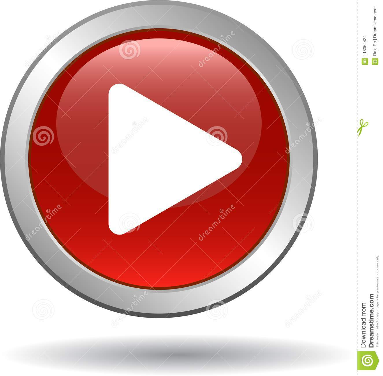 Play Button Web Audio Icon Red Stock Vector - Illustration of