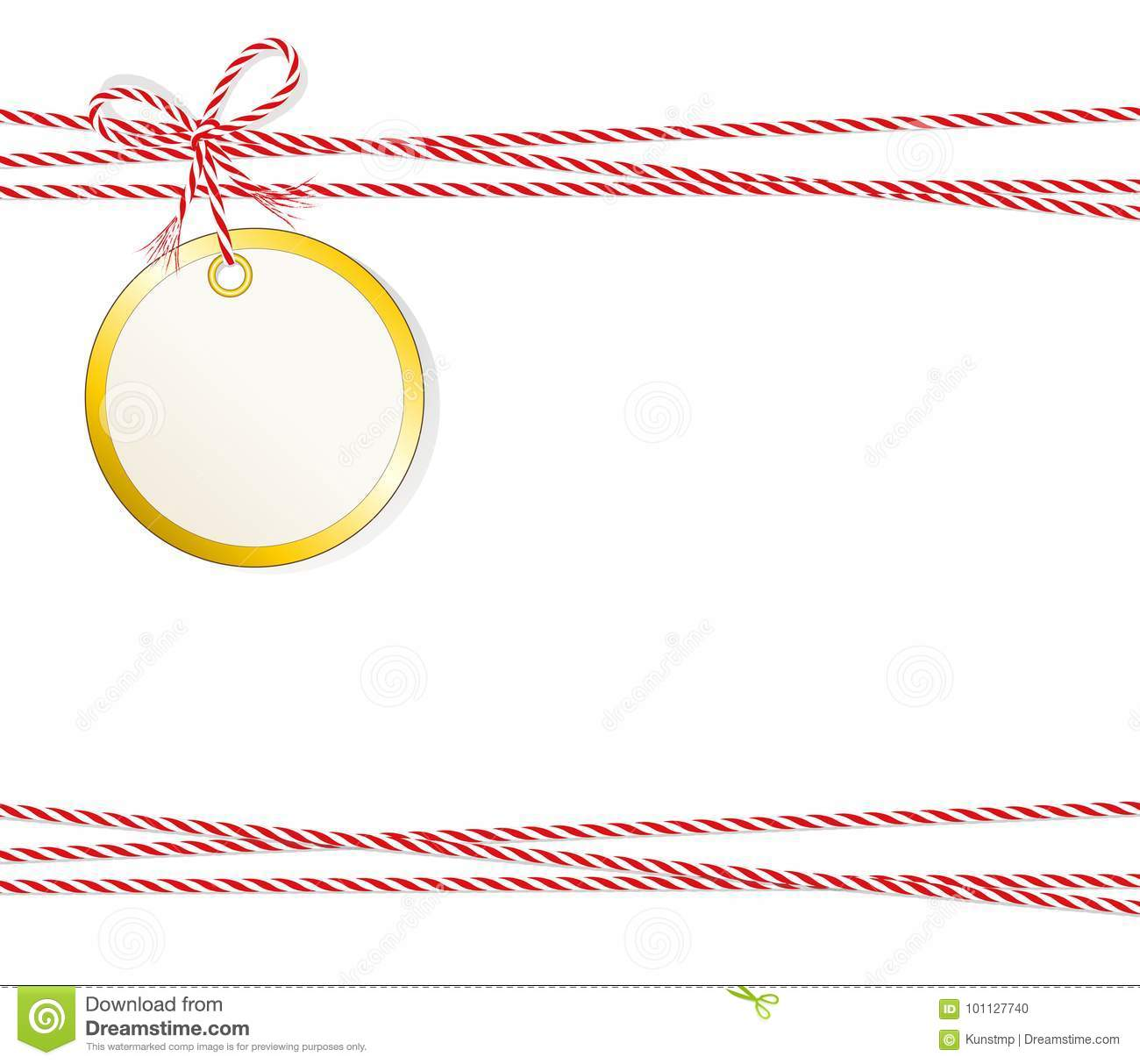 christmas card round gift label with golden edging and cord tape
