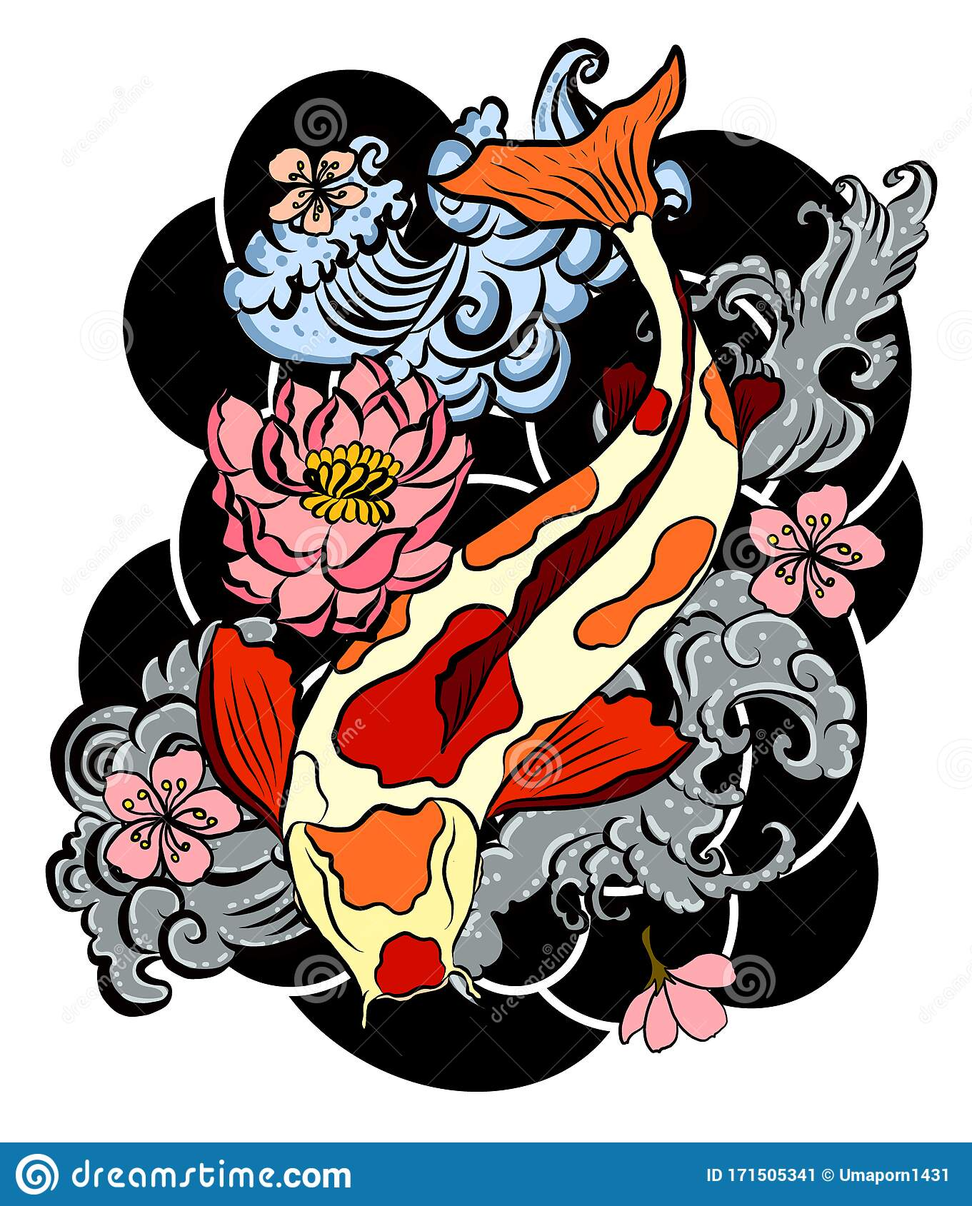 Japanese Culture For Tattoo Design On Isolated White ...