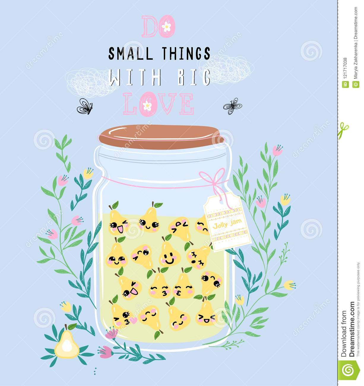 Image of: Draw Vector Illustration Of Jar Of Pear Jam With Cute Kawaii Berries Drawn With Tablet In Anime Style Vector Illustration Of Jar Of Pear Jam With Cute Kawaii Berries