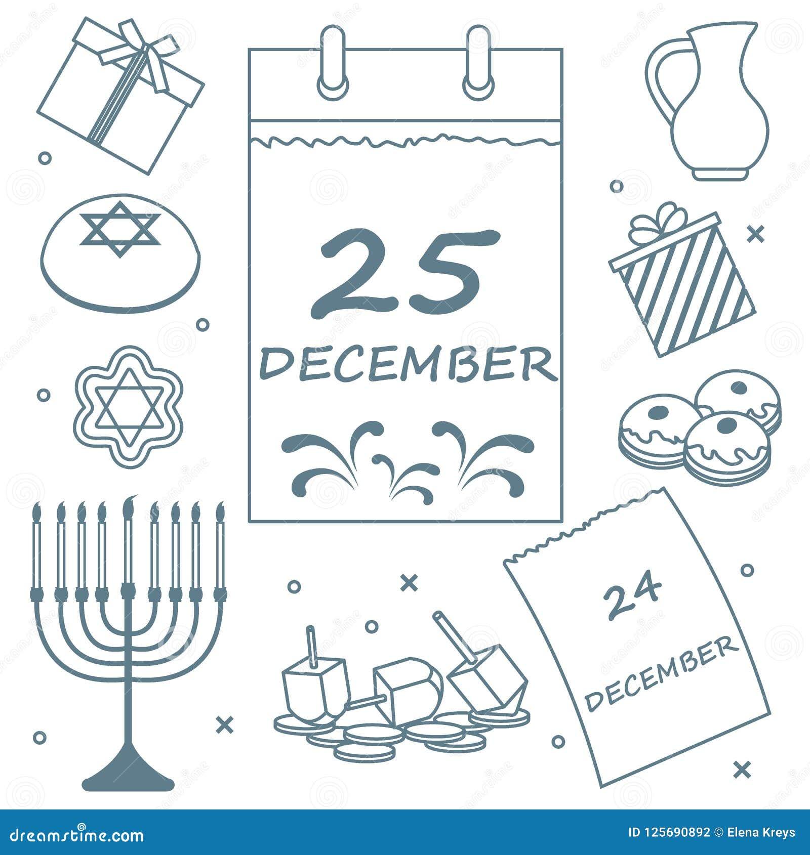 Vector Illustration Jewish Holiday Hanukkah Calendar Gifts D