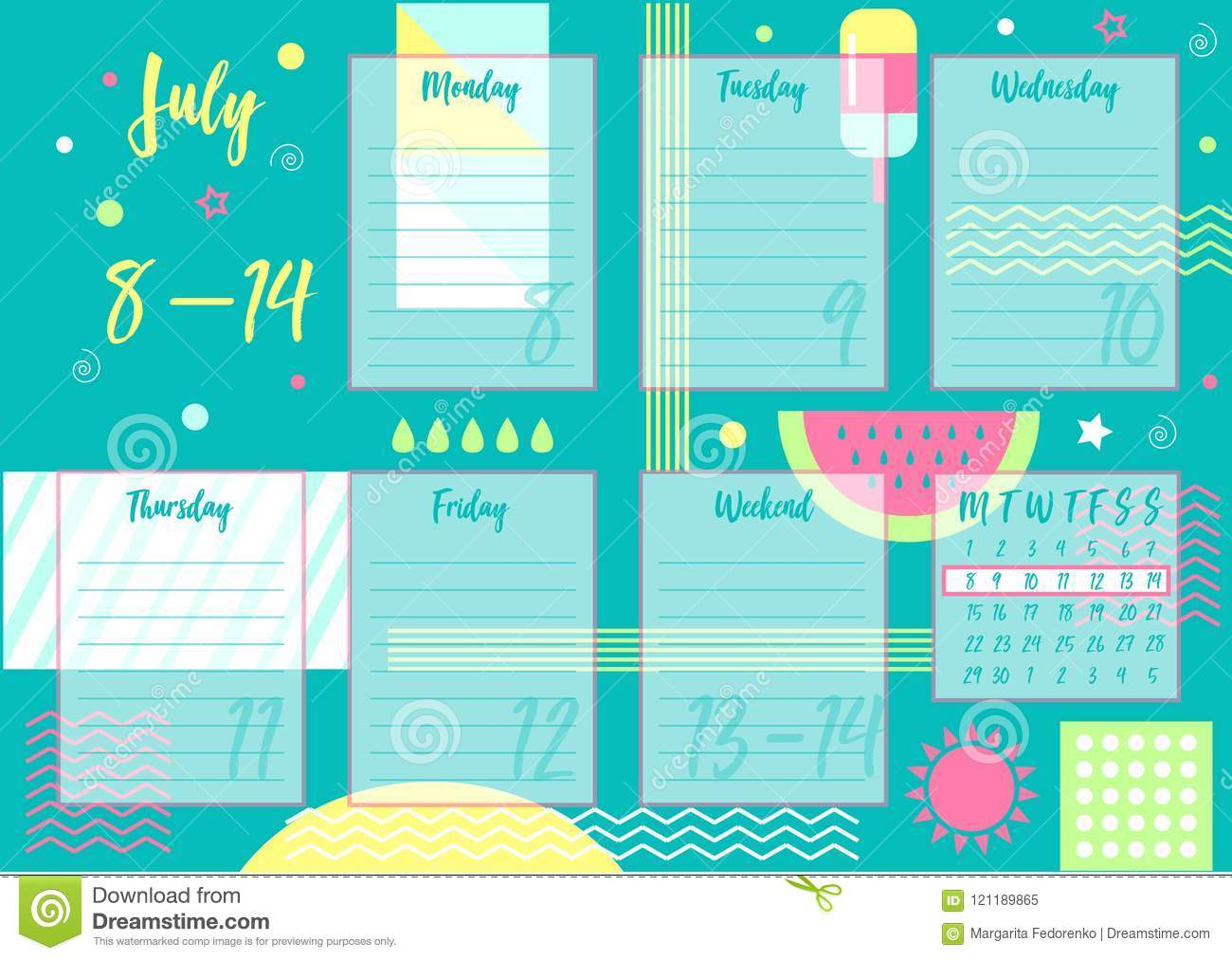Calendario Julio 2019 Vector.Vector Illustration Of July 2019 Weekly Planner Stock Vector