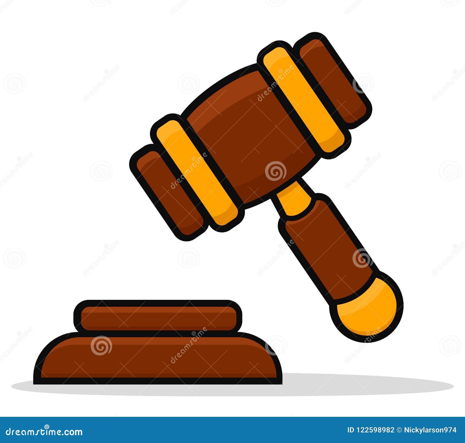 Vector Illustration Hammer: Vector Justice Hammer Icon Design Stock Vector