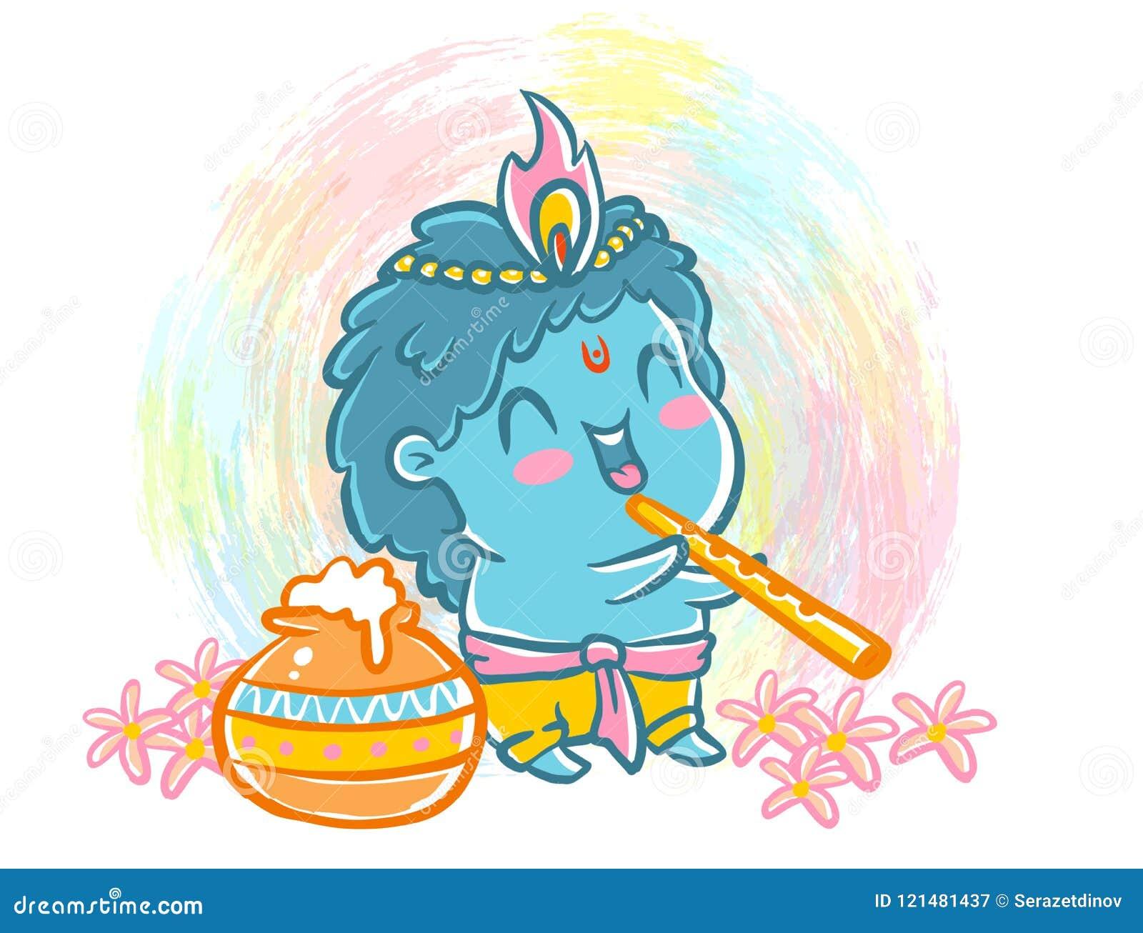 vector illustration kawaii style krishna janmashtami little krishna kawaii style little krishna kawaii style 121481437