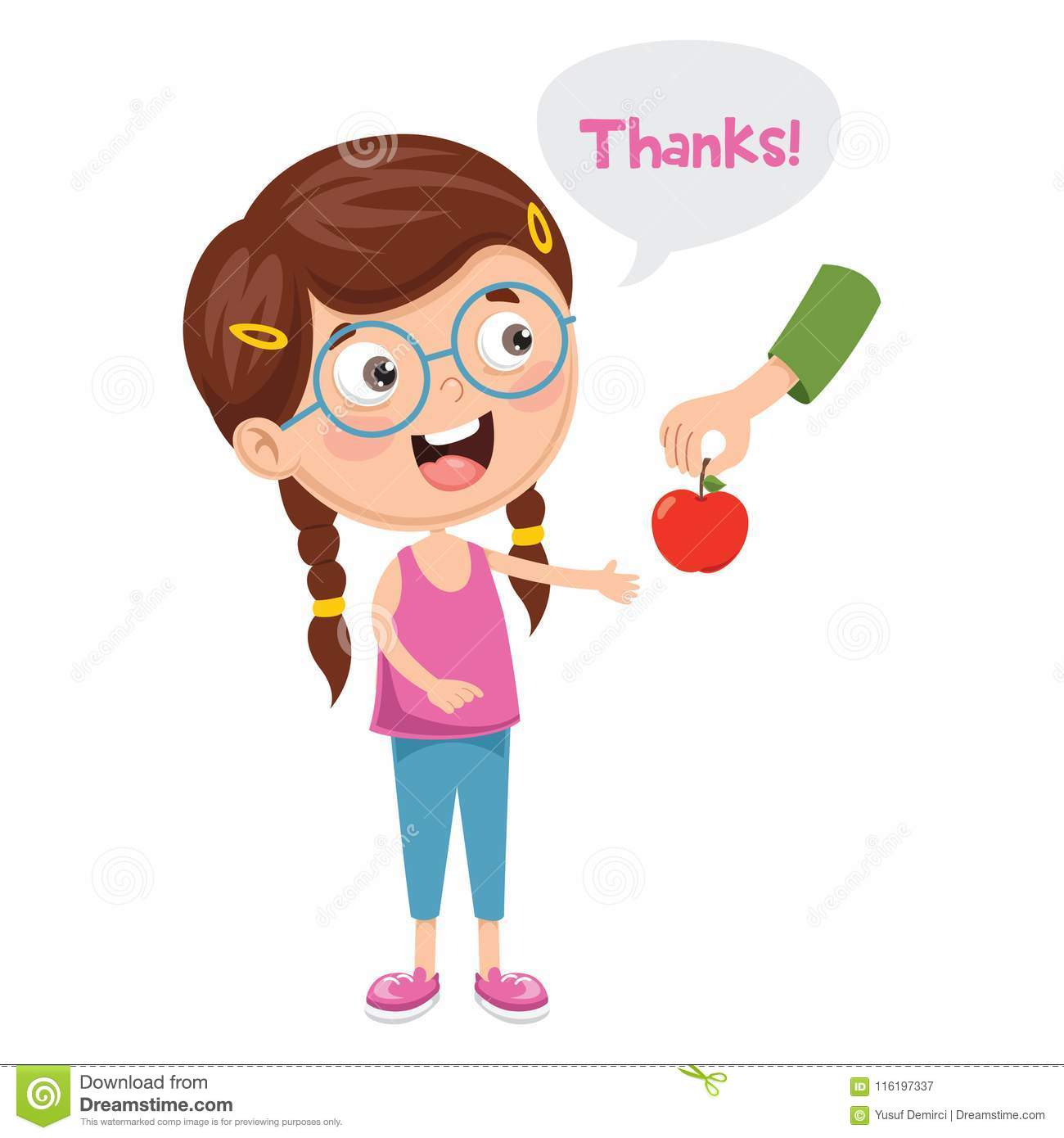 Vector Illustration Of Kid Give Thanks