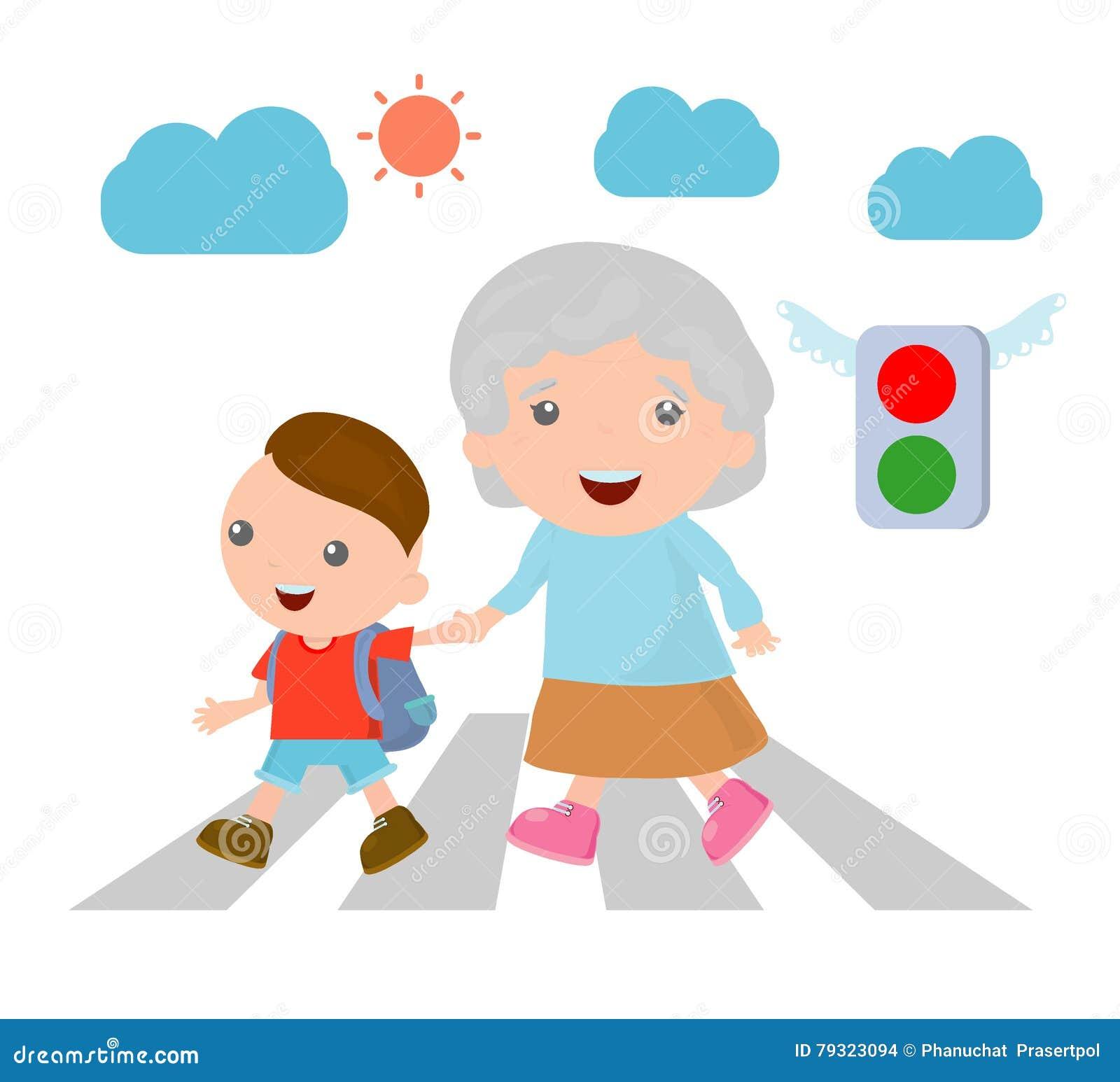 Vector Illustration Of Kid Helping Senior Lady Crossing ...