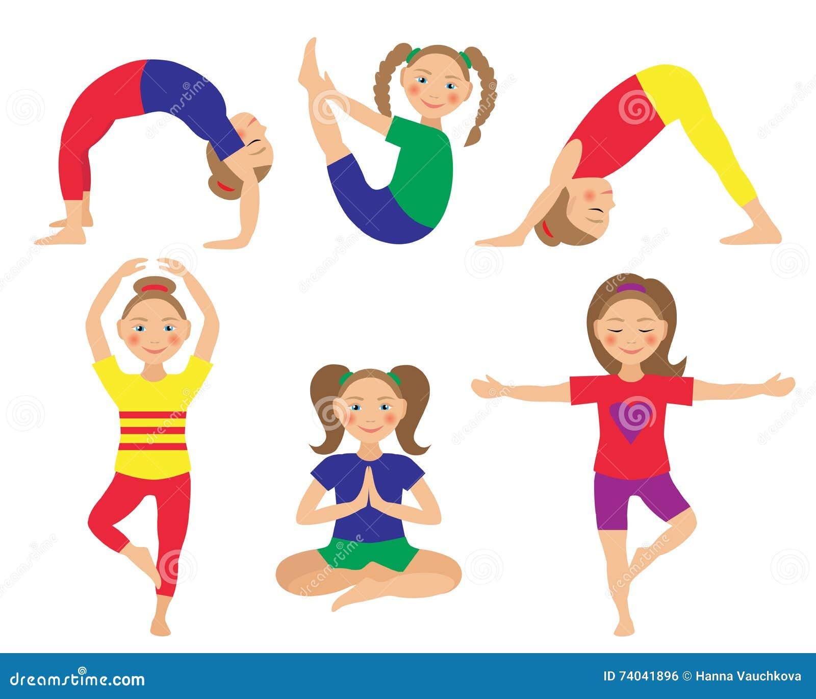 Vector Illustration Of Kid Yoga Positions Children