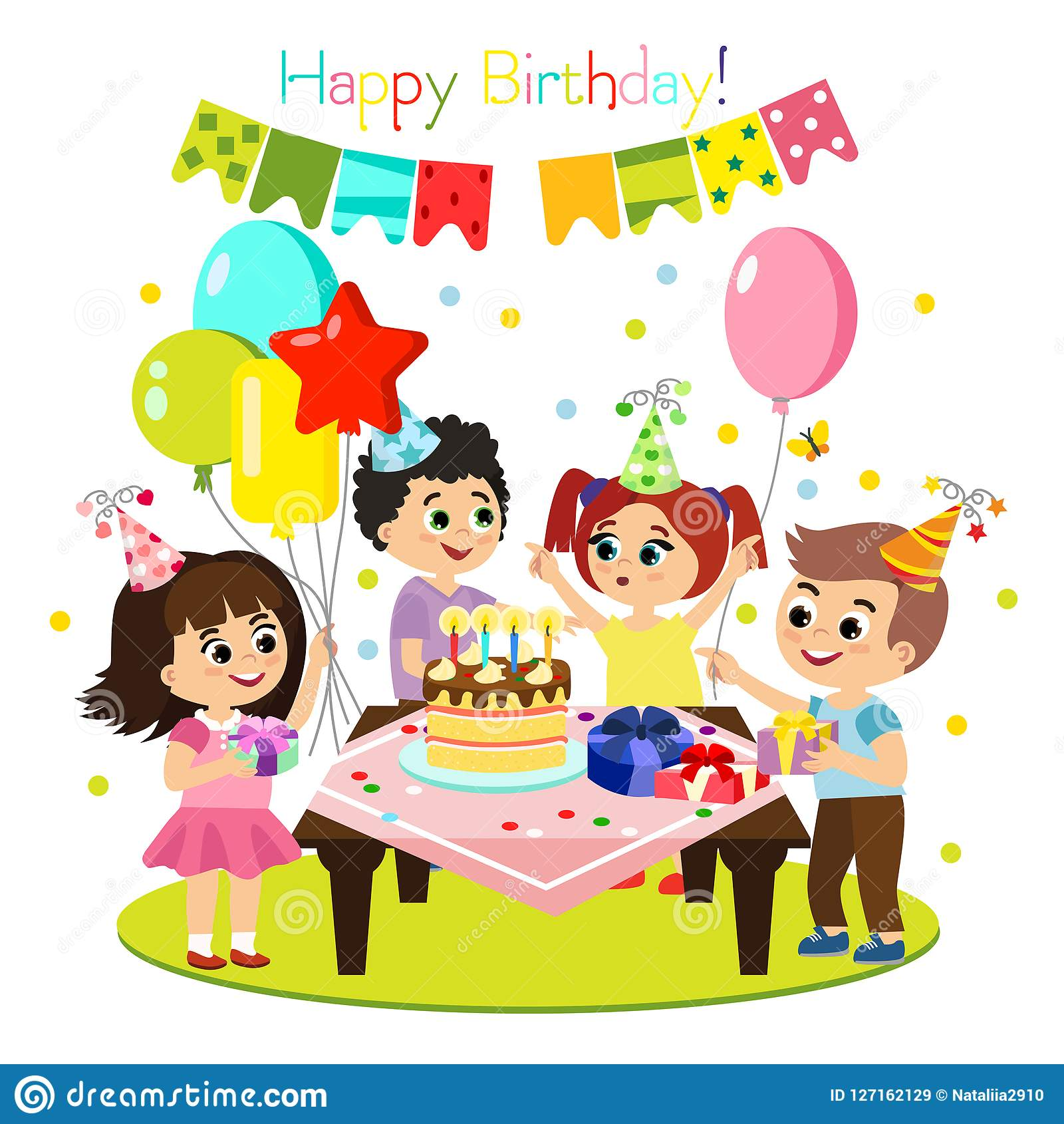 Vector Illustration Of Kids Birthday Party Colorful And