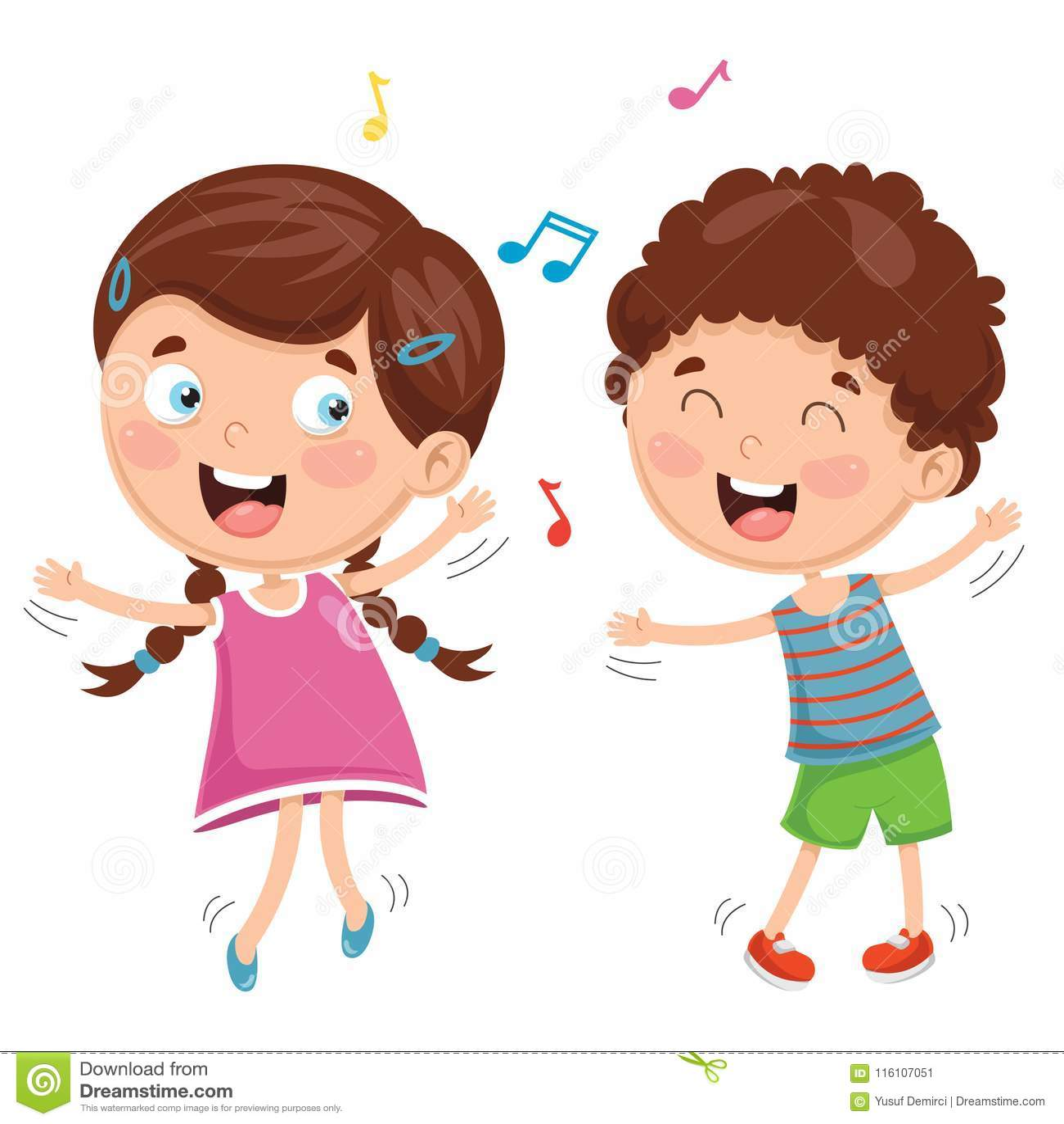Vector Illustration Of Kids Dancing Stock Illustration ...