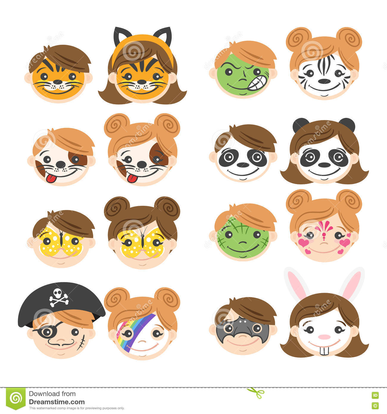 vector illustration of kids faces face painting for kids - Pictures Of Kids Painting