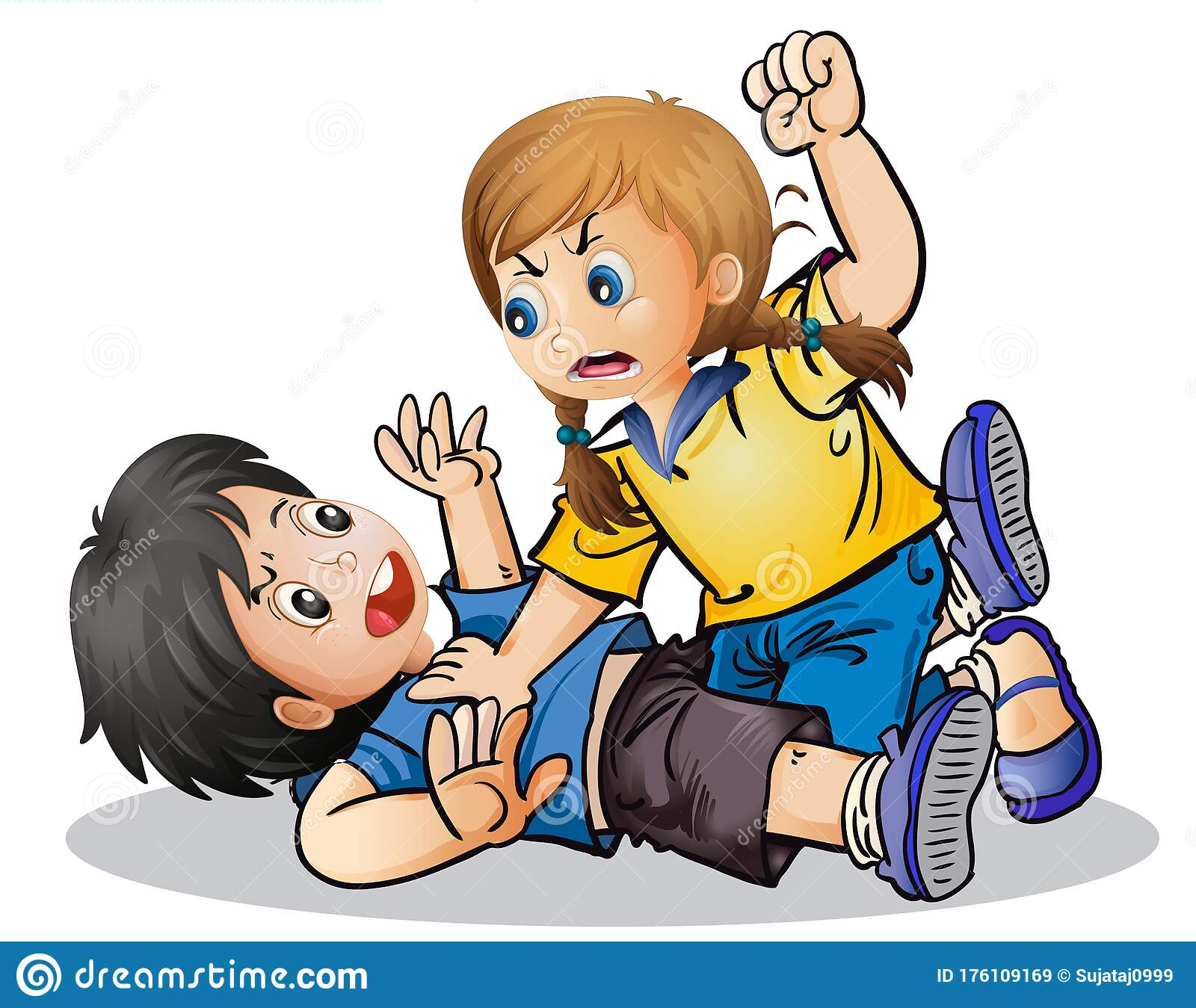 Vector Illustration Of Kids Fighting In A School Stock Vector Illustration Of Vector Cartoon 176109169