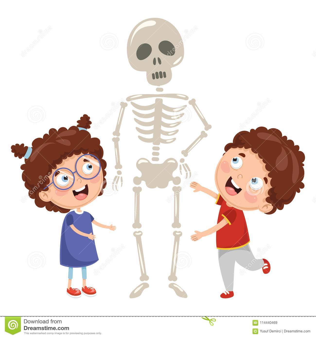 Vector Illustration Of Kids Having Biology Lesson With Human
