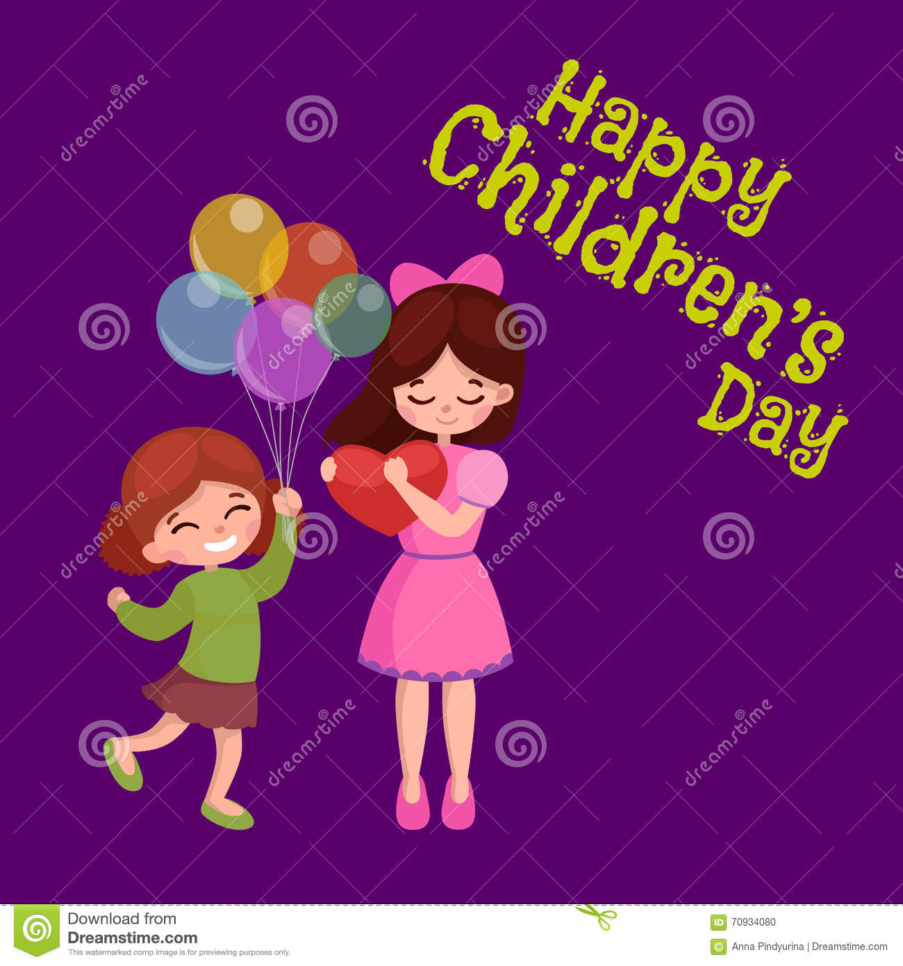 Vector illustration kids playing greeting card happy childrens day download comp m4hsunfo