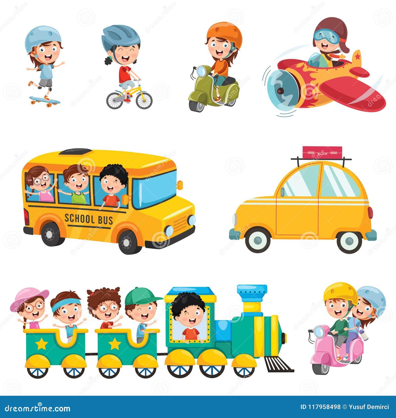 Vector Illustration Of Kids Transportation Stock