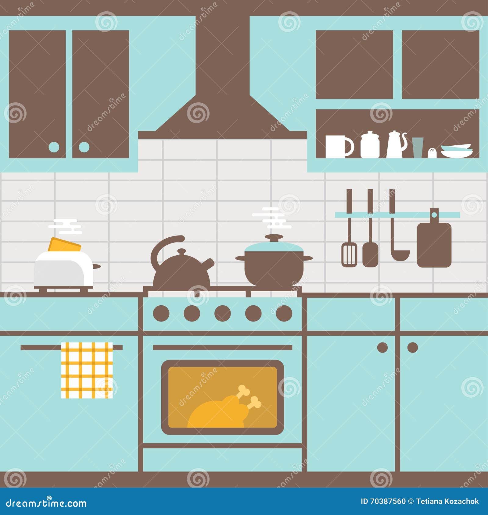 Vector Illustration Of Kitchen With Furniture. Kitchen Utensils ...