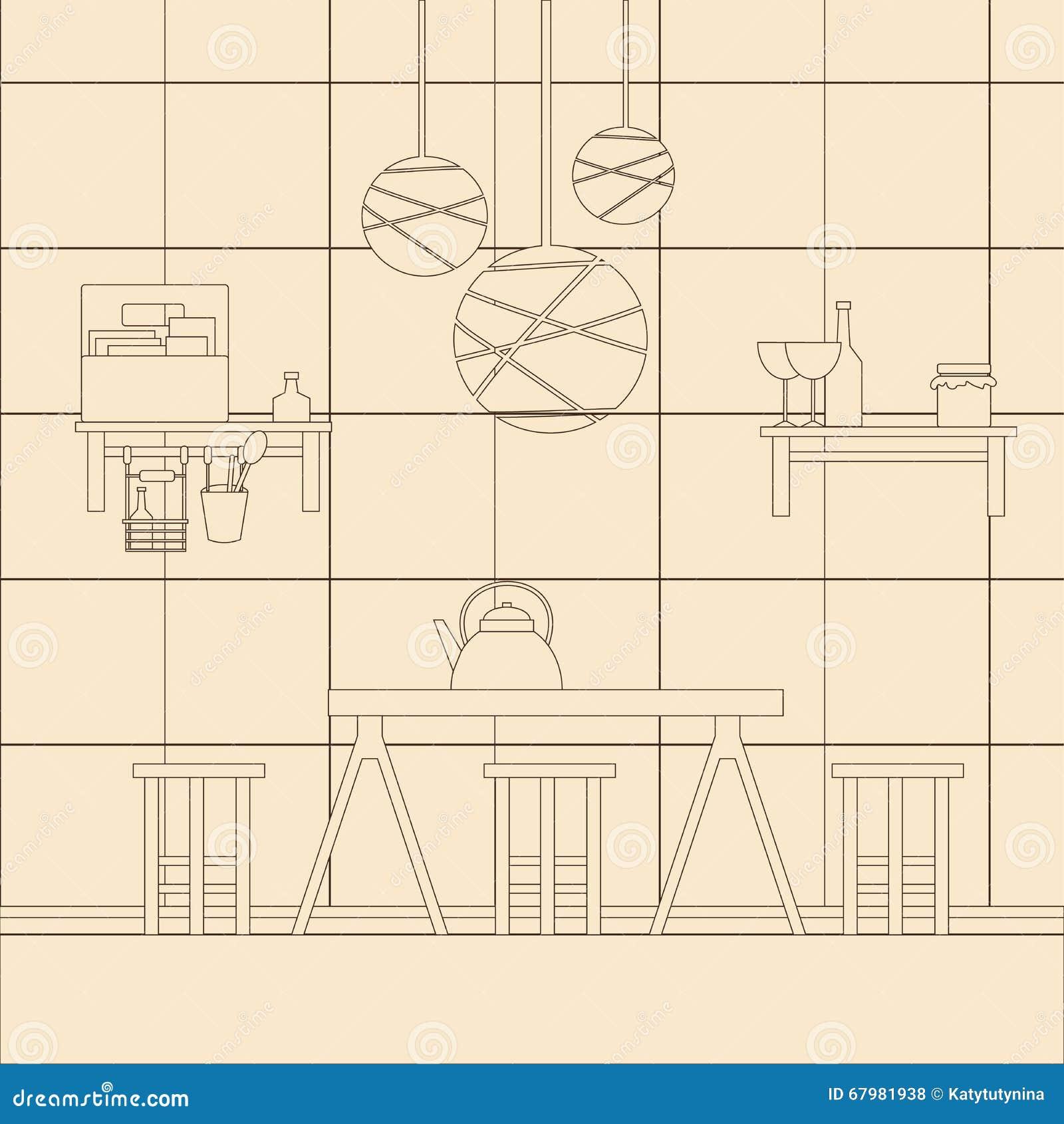 Vector illustration of kitchen interior design stock for Kitchen design template