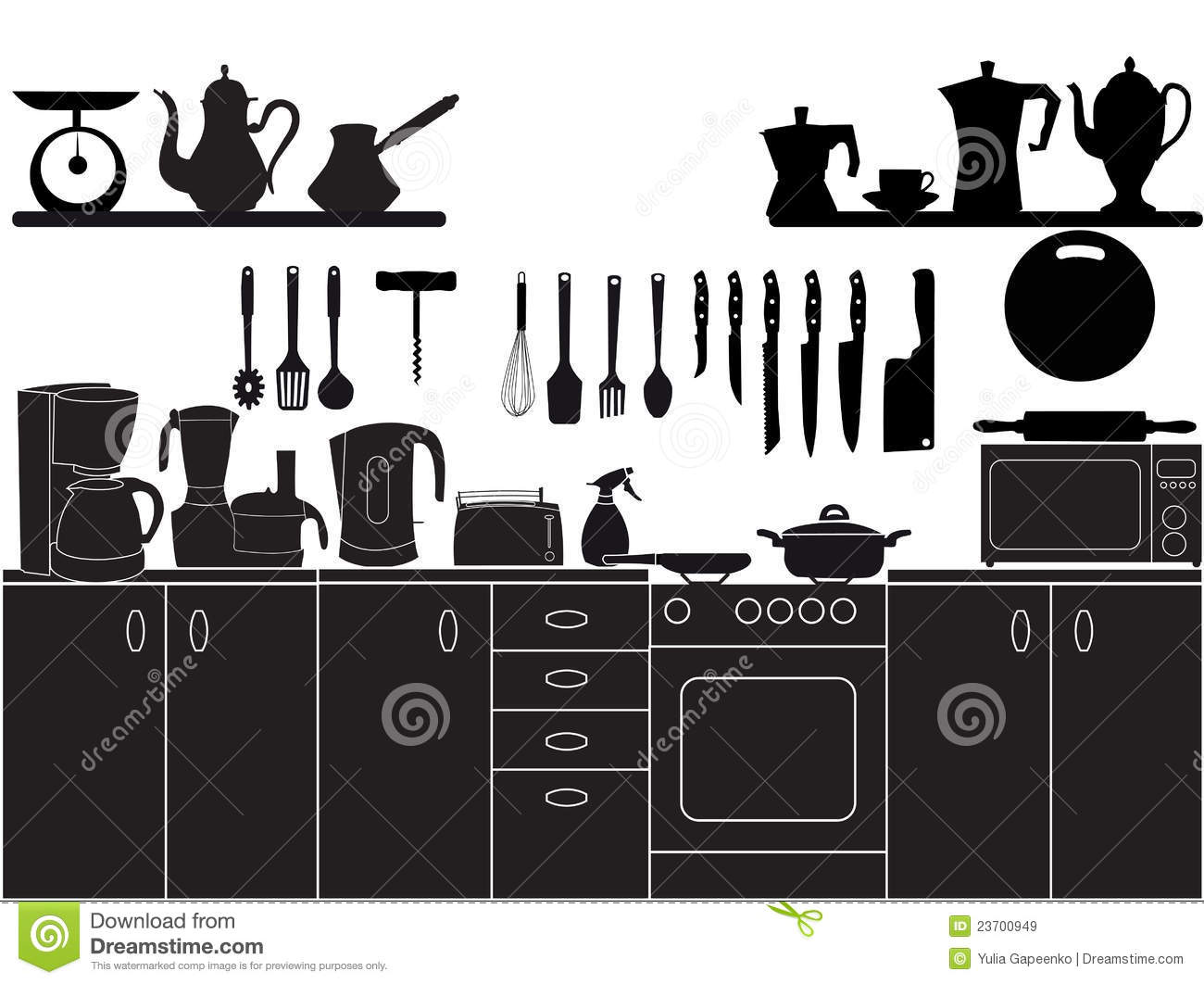 Vector Illustration Of Kitchen Tools Royalty Free Stock Images Image 23700949