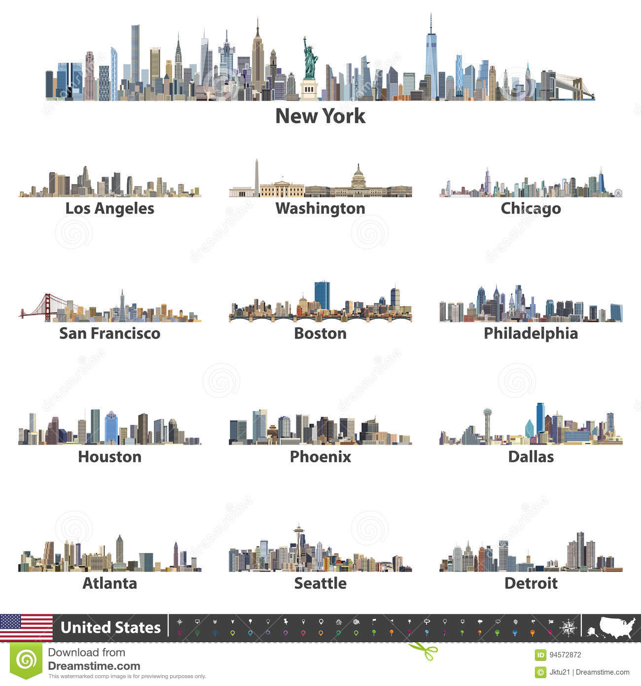 Vector illustration of largest United States city skylines. Navigation, location and travel icons; flag and map of United States