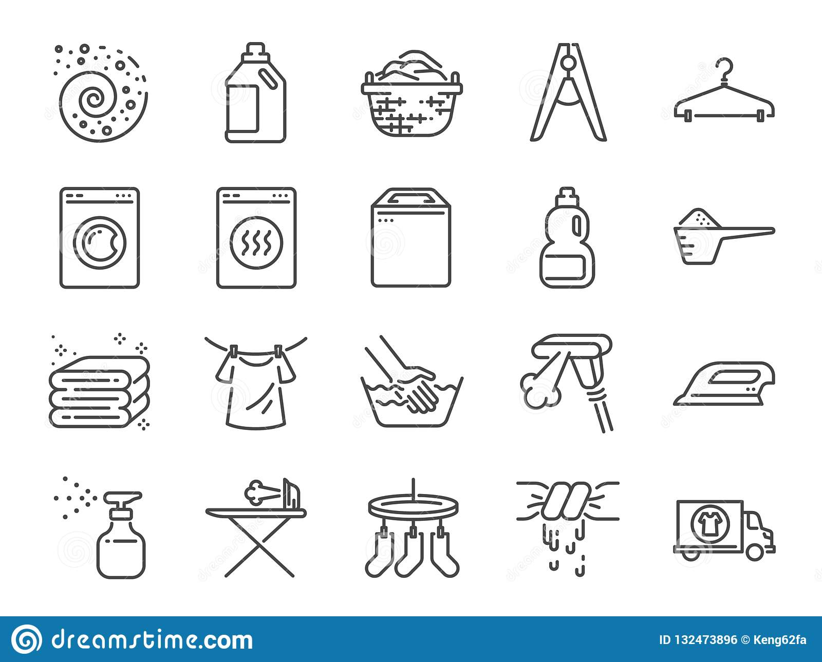 Laundry icon set. Included the icons as detergent, washing machine, fresh, clean, iron and more.