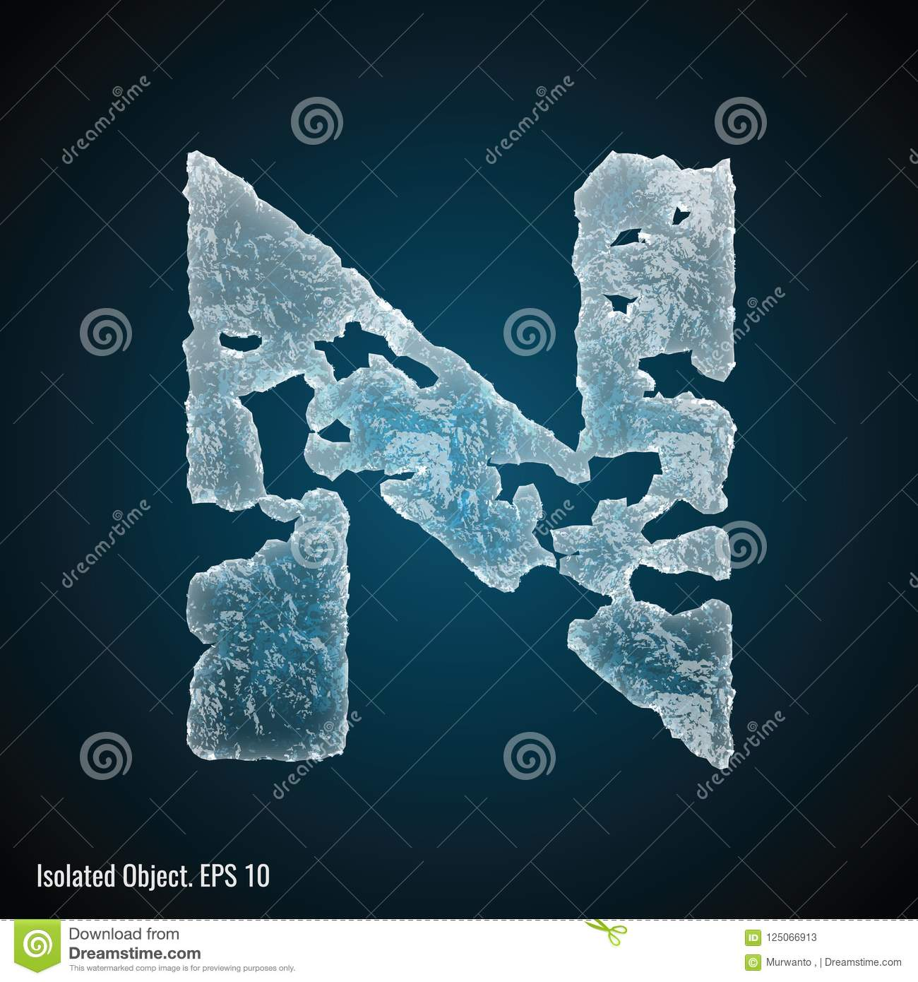 Ice Font of Letter N