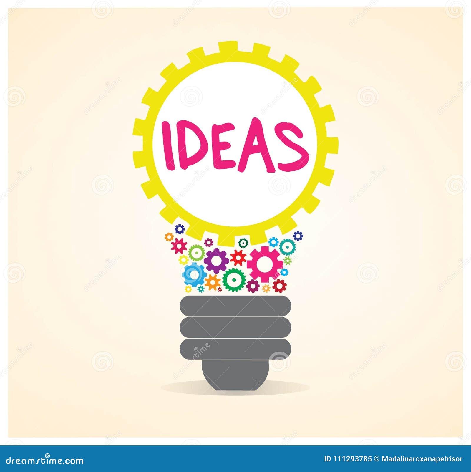 Ideas Inside A Gear Light Bulb Vector Design Stock Vector