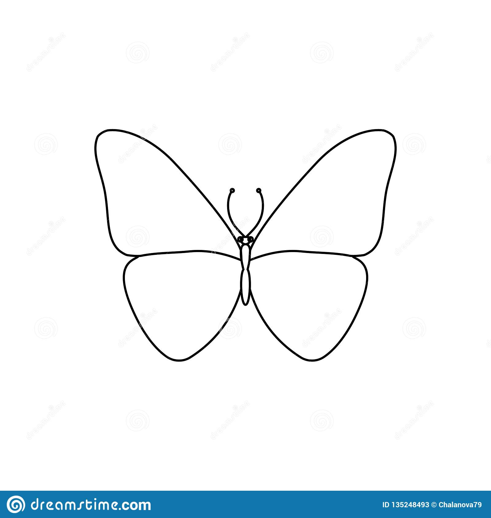 Vector illustration. Line style butterfly. Simple. Template
