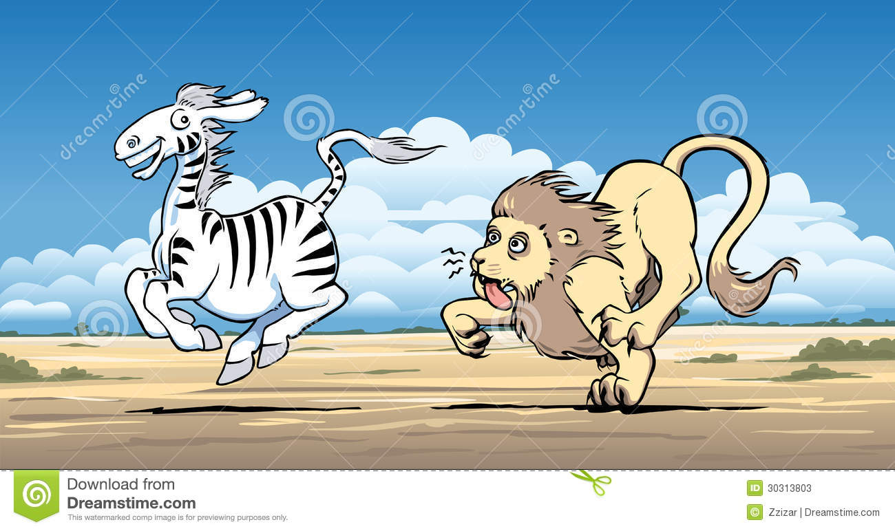Vector illustration of a lion hunting a zebra and being outrun by it ... Indian Flute Clipart