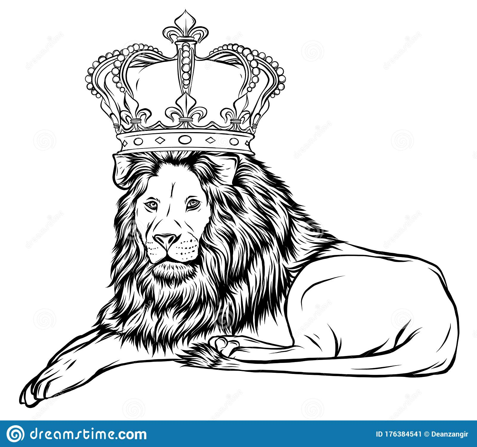 Vector Illustration The Lion King The Head Of A Lion In The Crown On A White Background Stock Vector Illustration Of Luxury Head 176384541