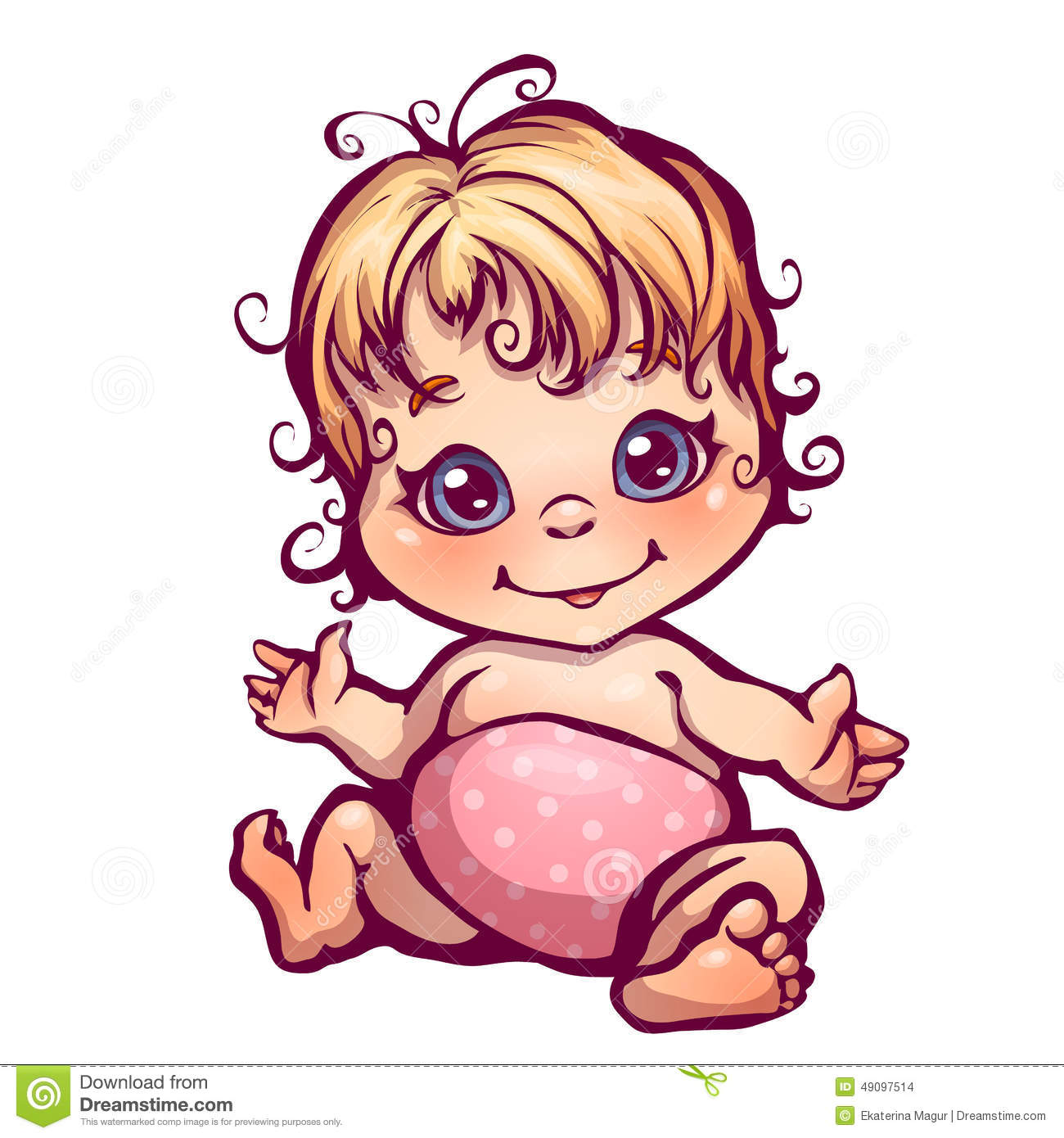 Vector Illustration Of Little Baby Girl Stock Vector Illustration