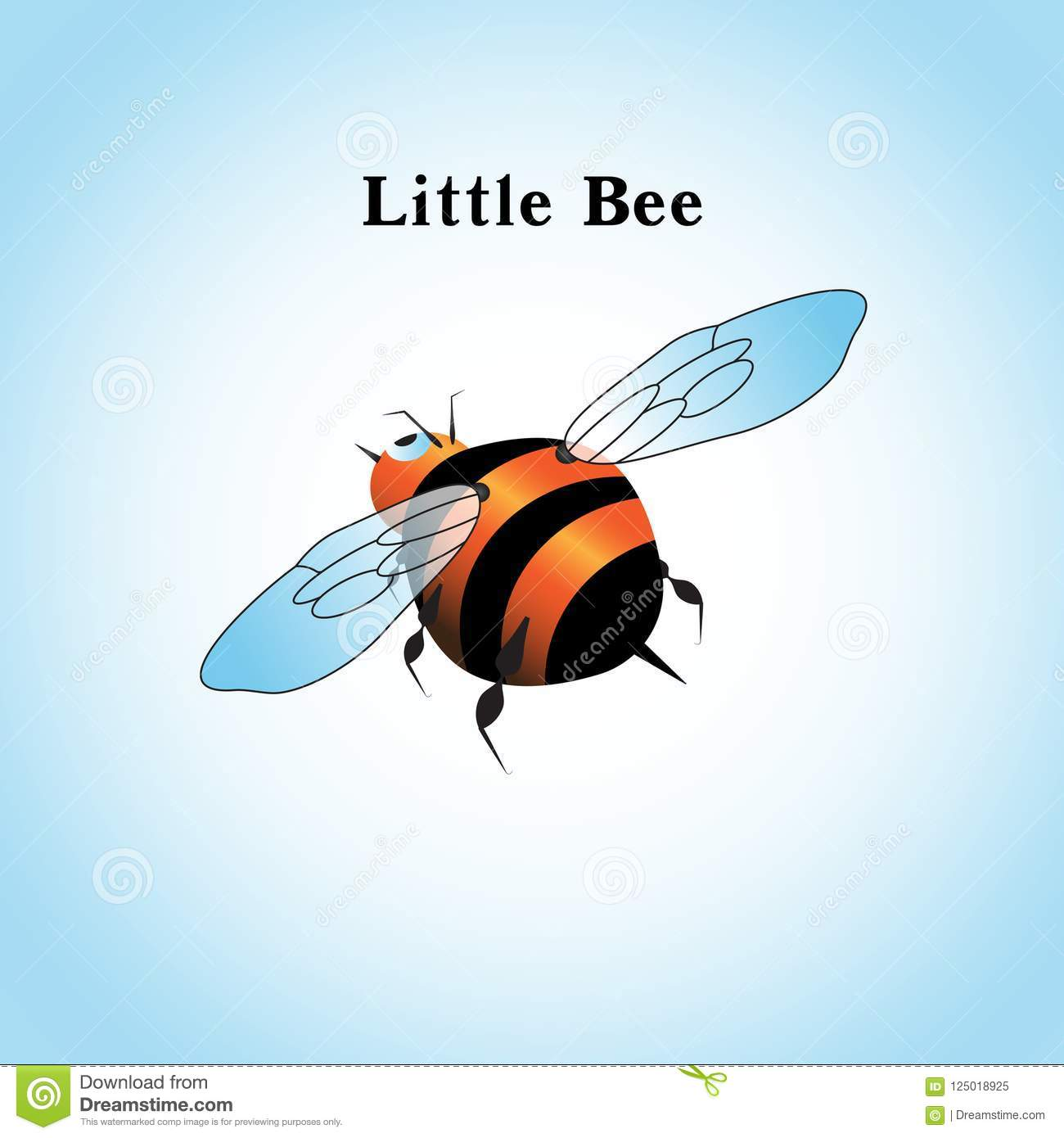 Vector illustration of a little bee flying in the sky